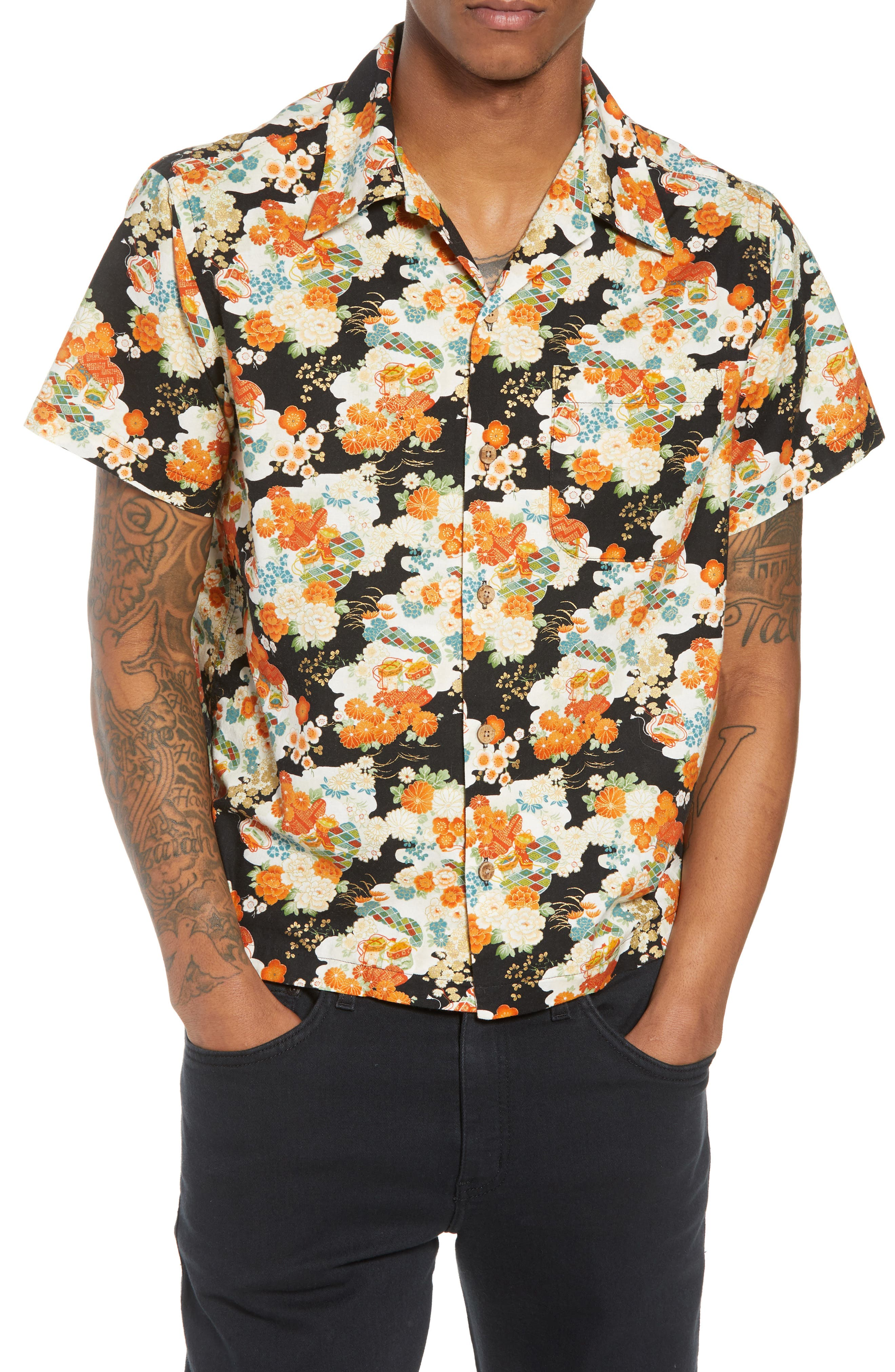 Japanese Aloha Festival Woven Shirt,                         Main,                         color, 001