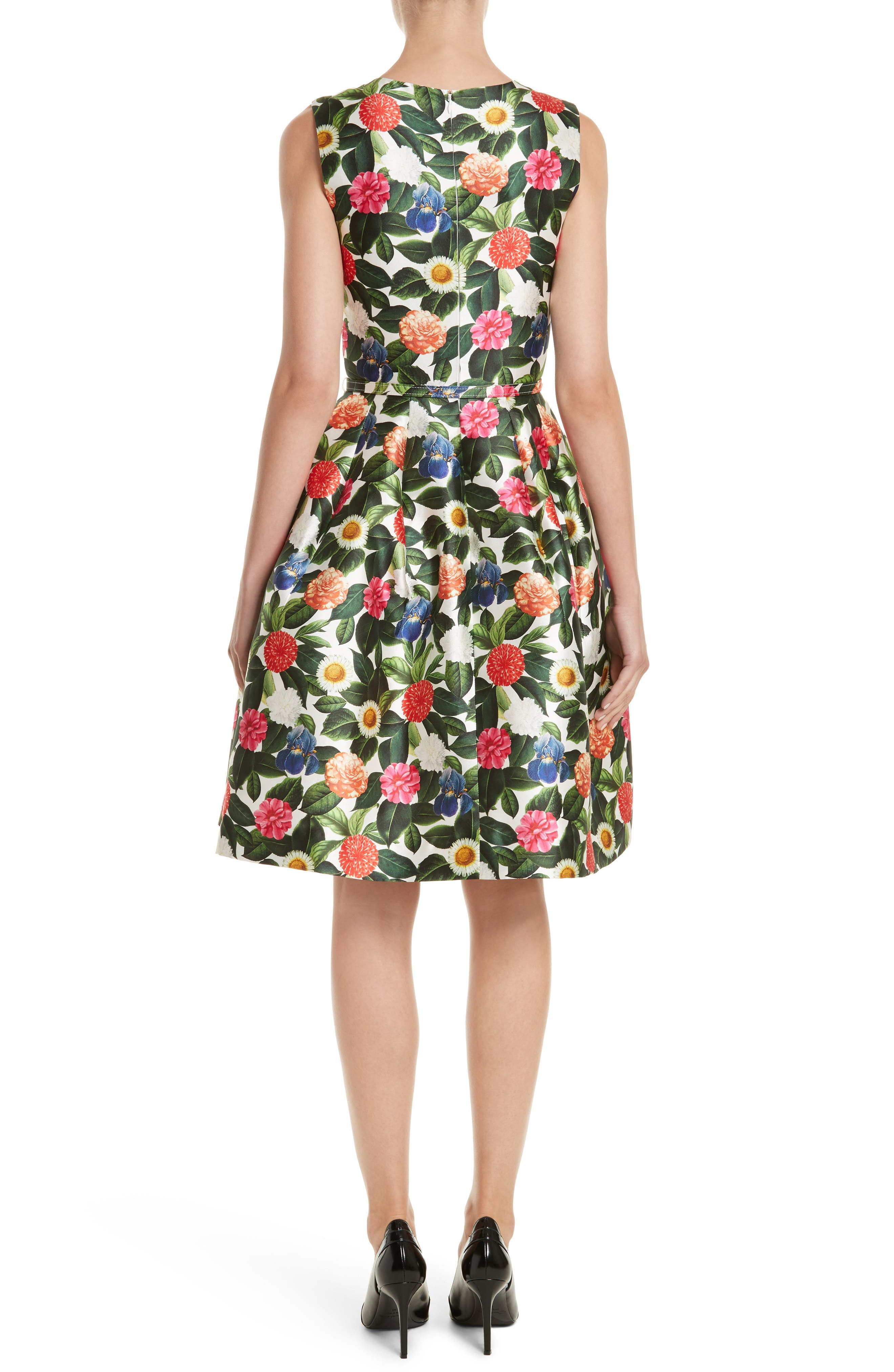 Floral Silk Mikado Fit & Flare Dress,                             Alternate thumbnail 2, color,
