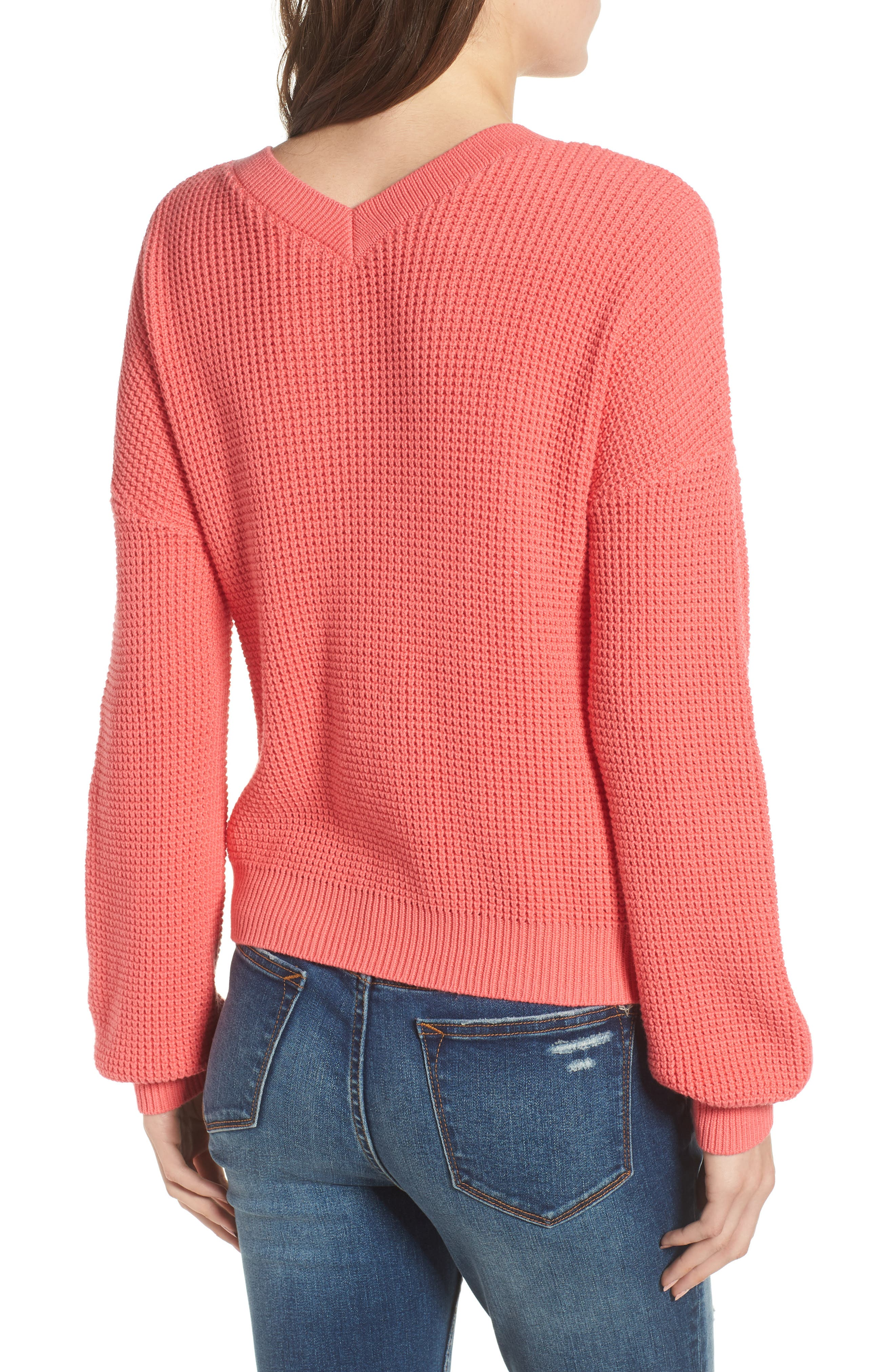 Twist Front Sweater,                             Alternate thumbnail 3, color,                             CORAL SUNKIST