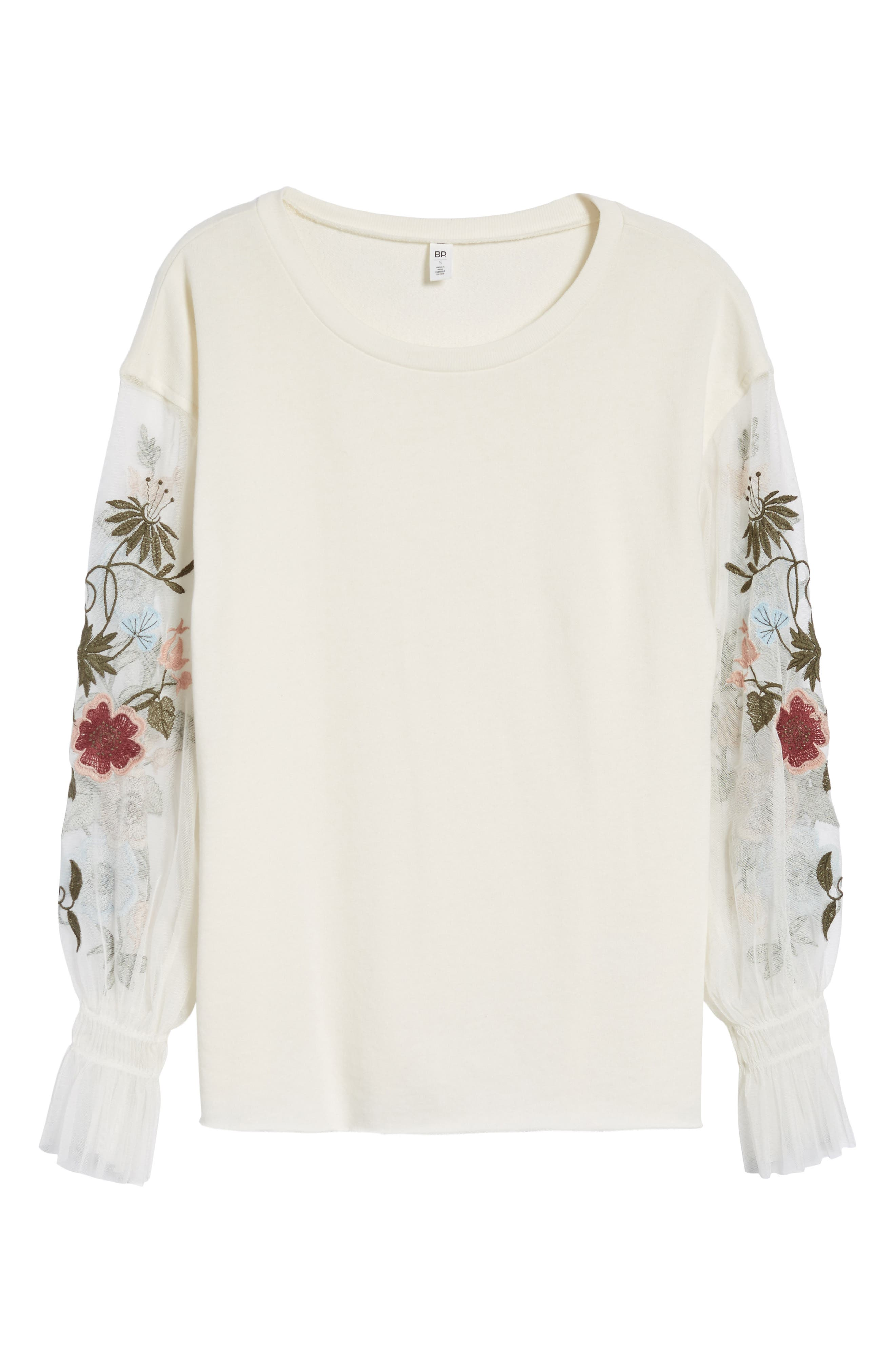Embroidered Mesh Sleeve Tee,                             Alternate thumbnail 6, color,