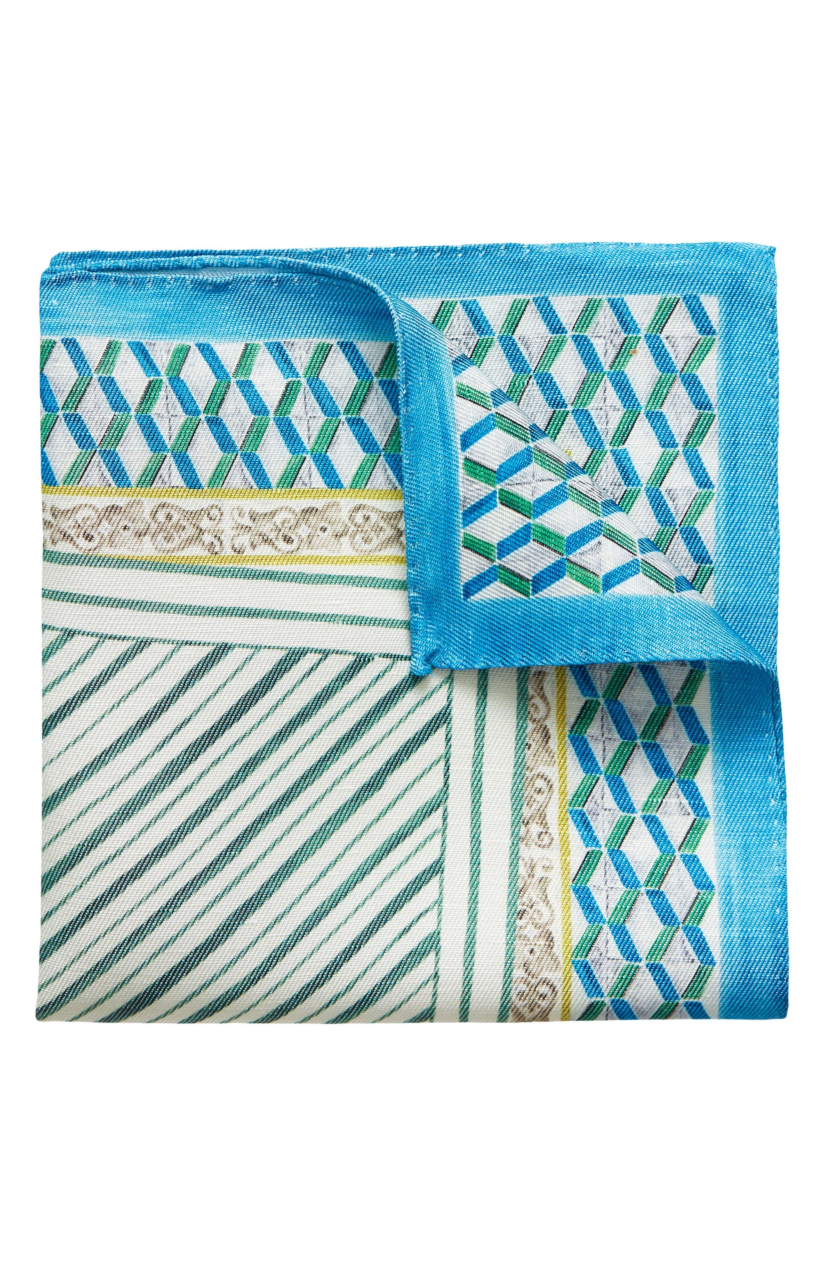 Geometric Linen & Silk Pocket Square,                         Main,                         color,