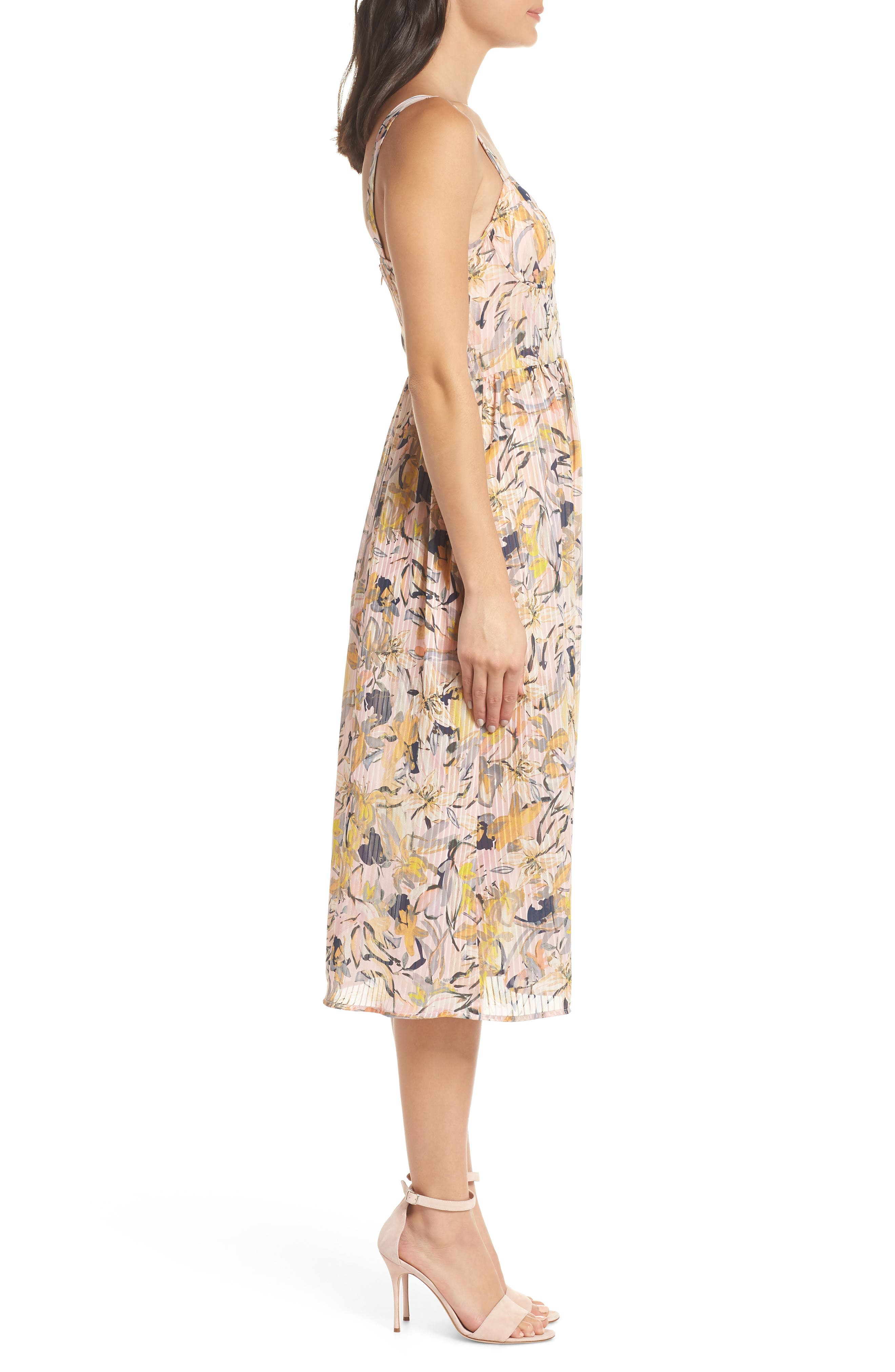 Marie Floral Bustier Midi Dress,                             Alternate thumbnail 3, color,                             650