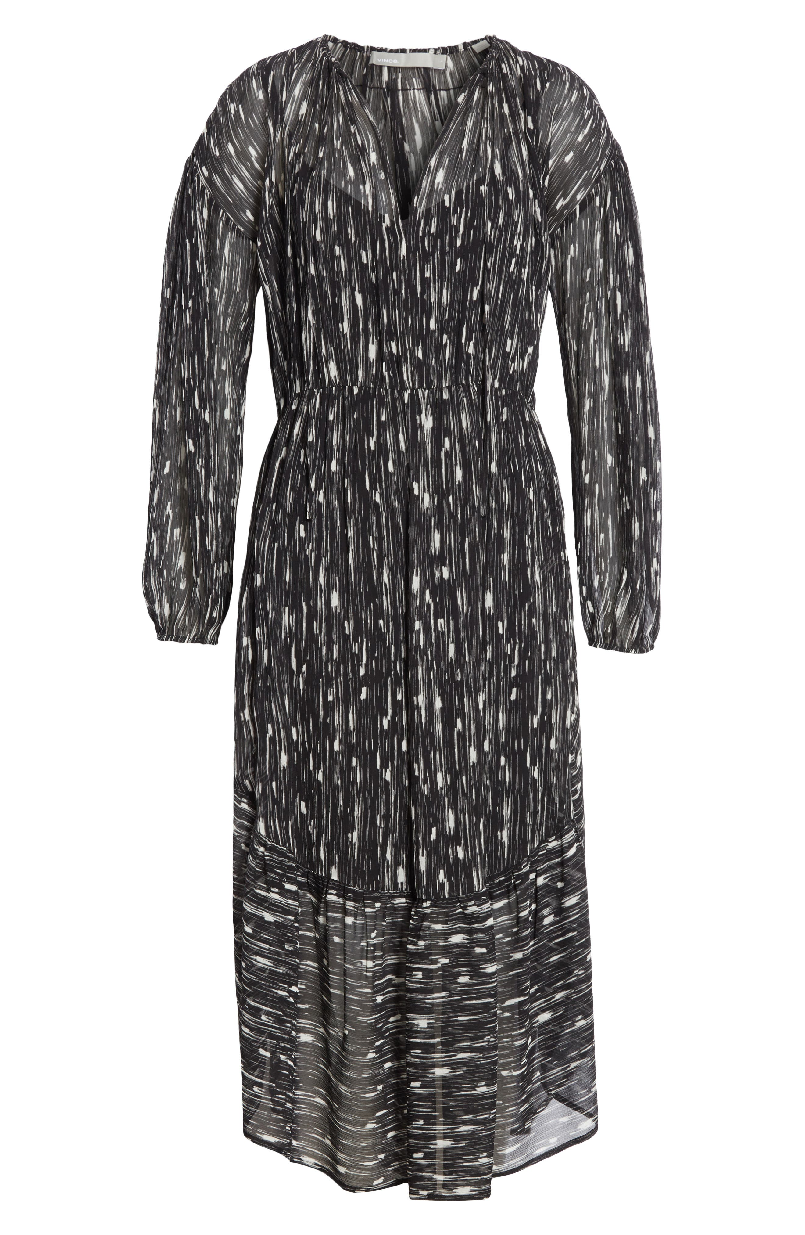 VINCE,                             Brushstroke Silk Chiffon Dress,                             Alternate thumbnail 6, color,                             001