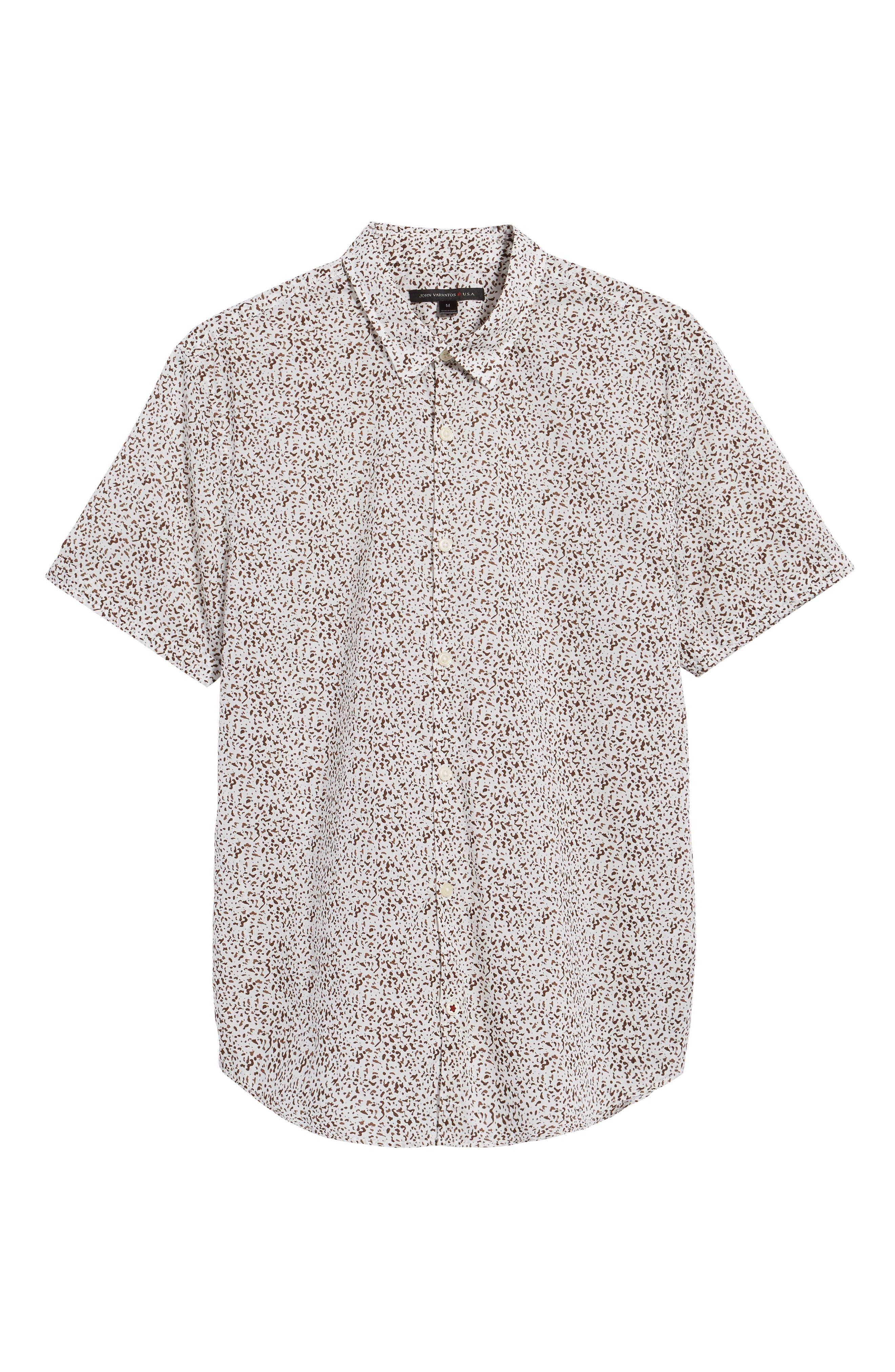 Slim Fit Animal Print Short Sleeve Sport Shirt,                             Alternate thumbnail 6, color,                             LIGHT KHAKI