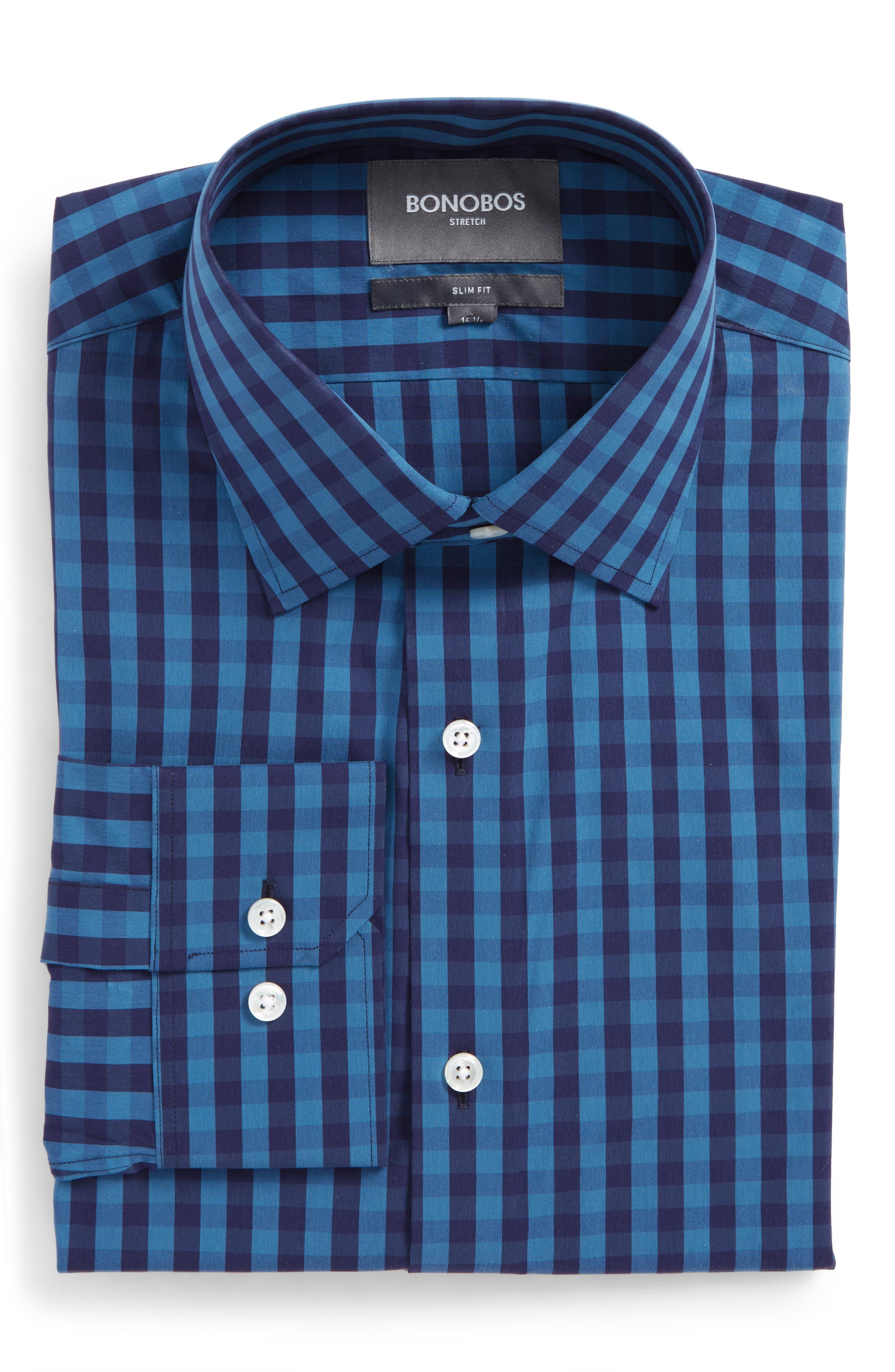 Slim Fit Stretch Check Dress Shirt,                         Main,                         color, 400