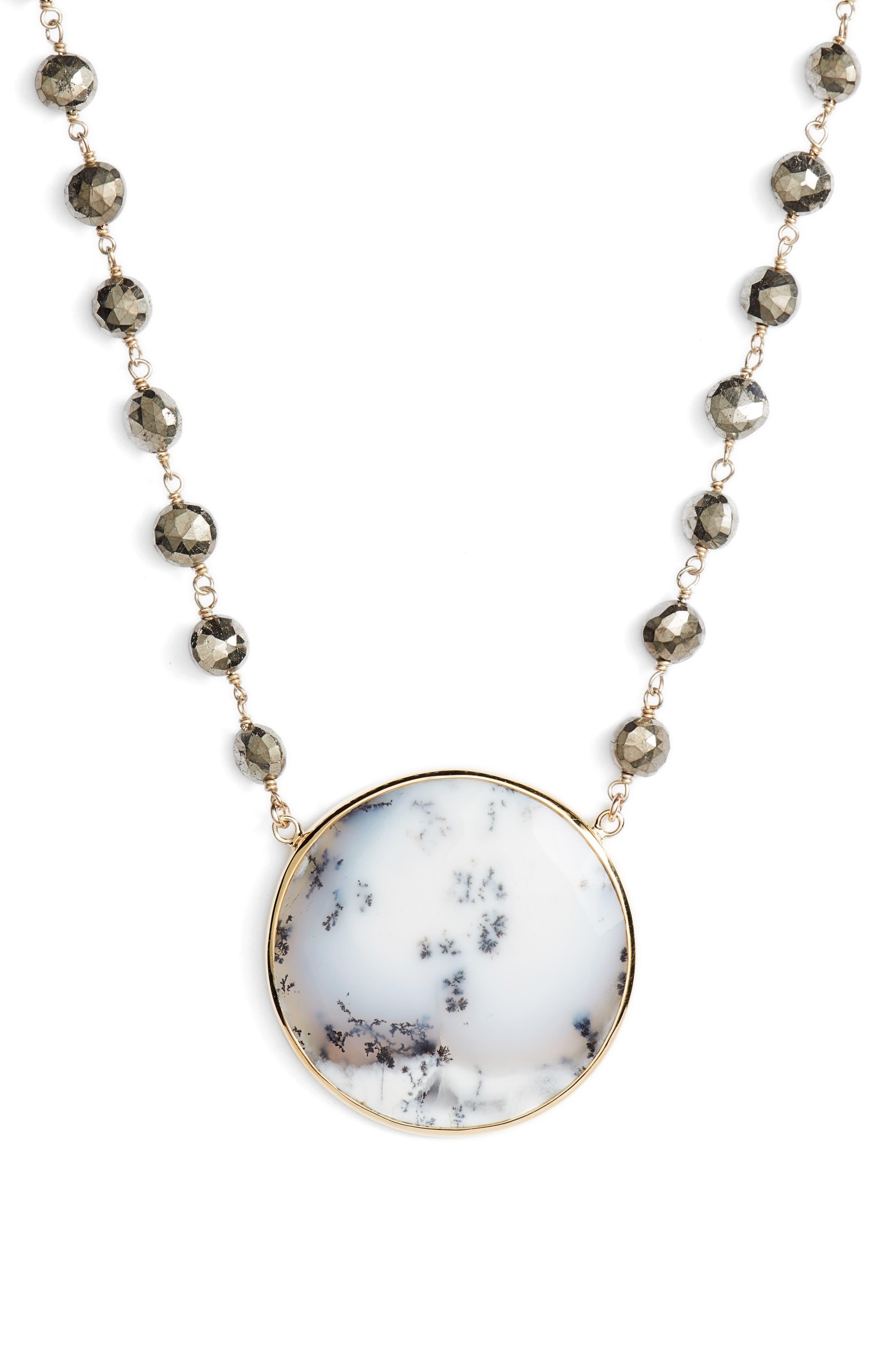 Morah Necklace,                         Main,                         color, PYRITE/ DENDRITE OPAL DISC