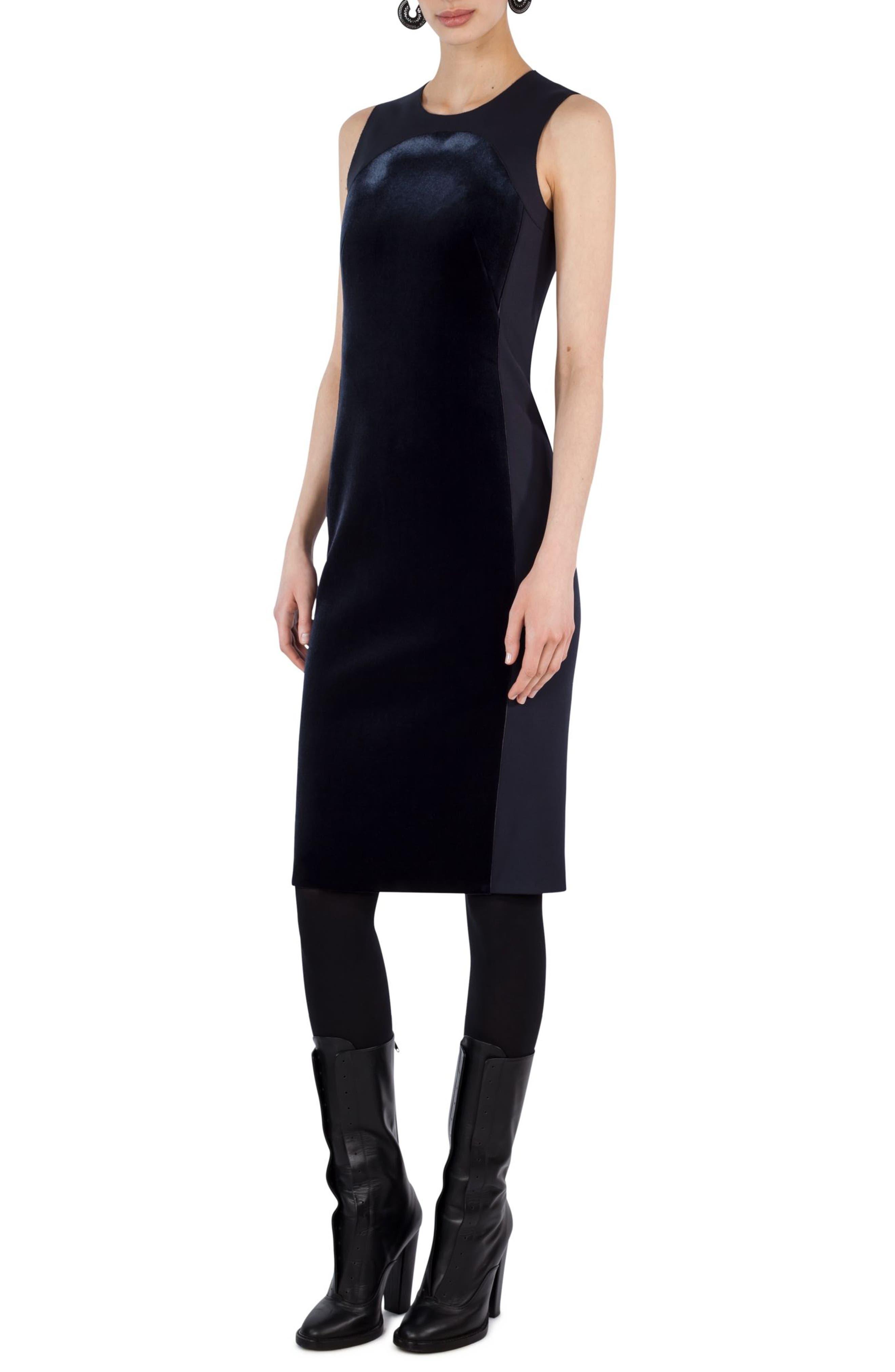 Velvet Front Shift Dress,                         Main,                         color, 400
