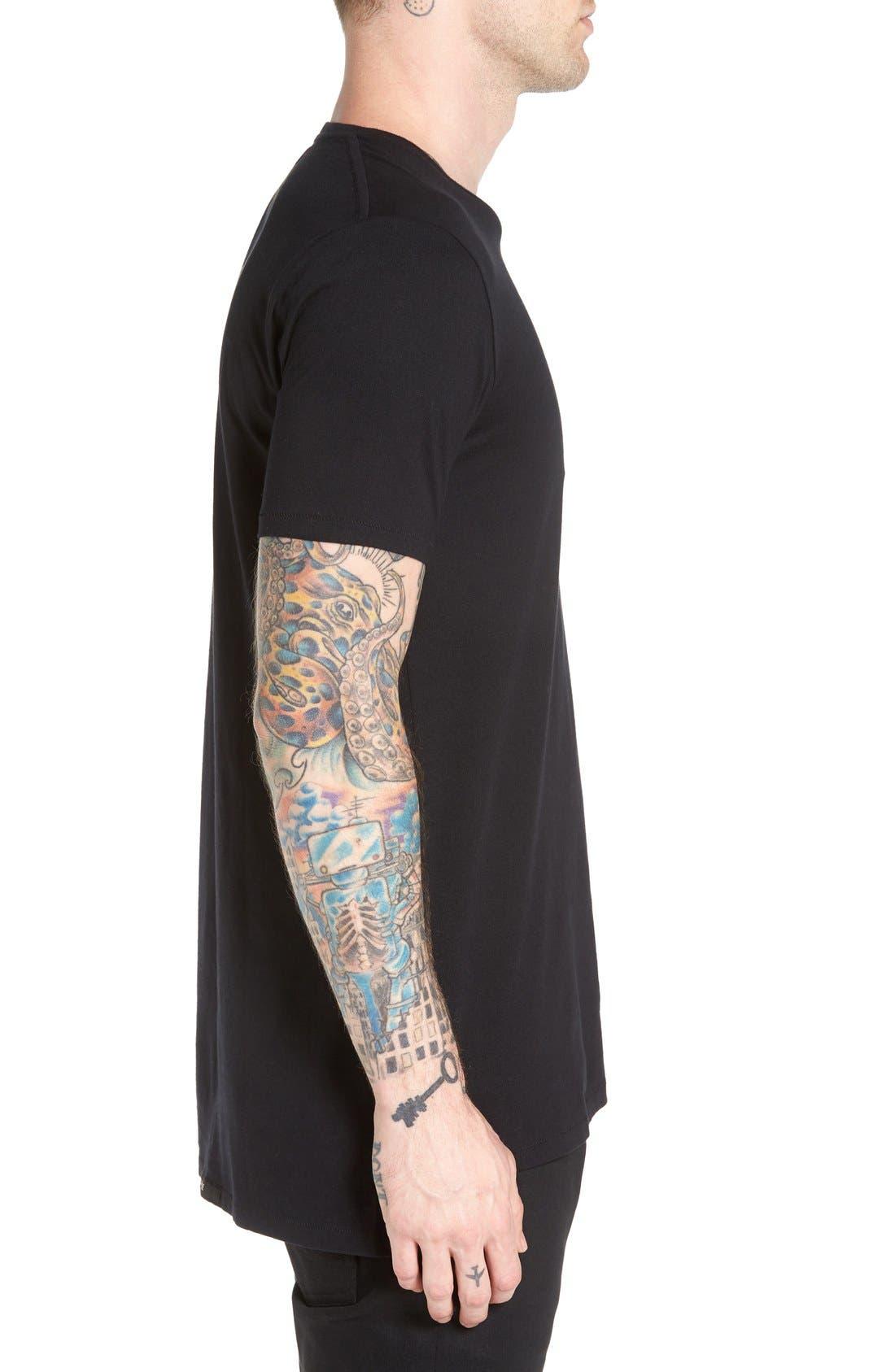 Flintlock Longline T-Shirt,                             Alternate thumbnail 3, color,                             001