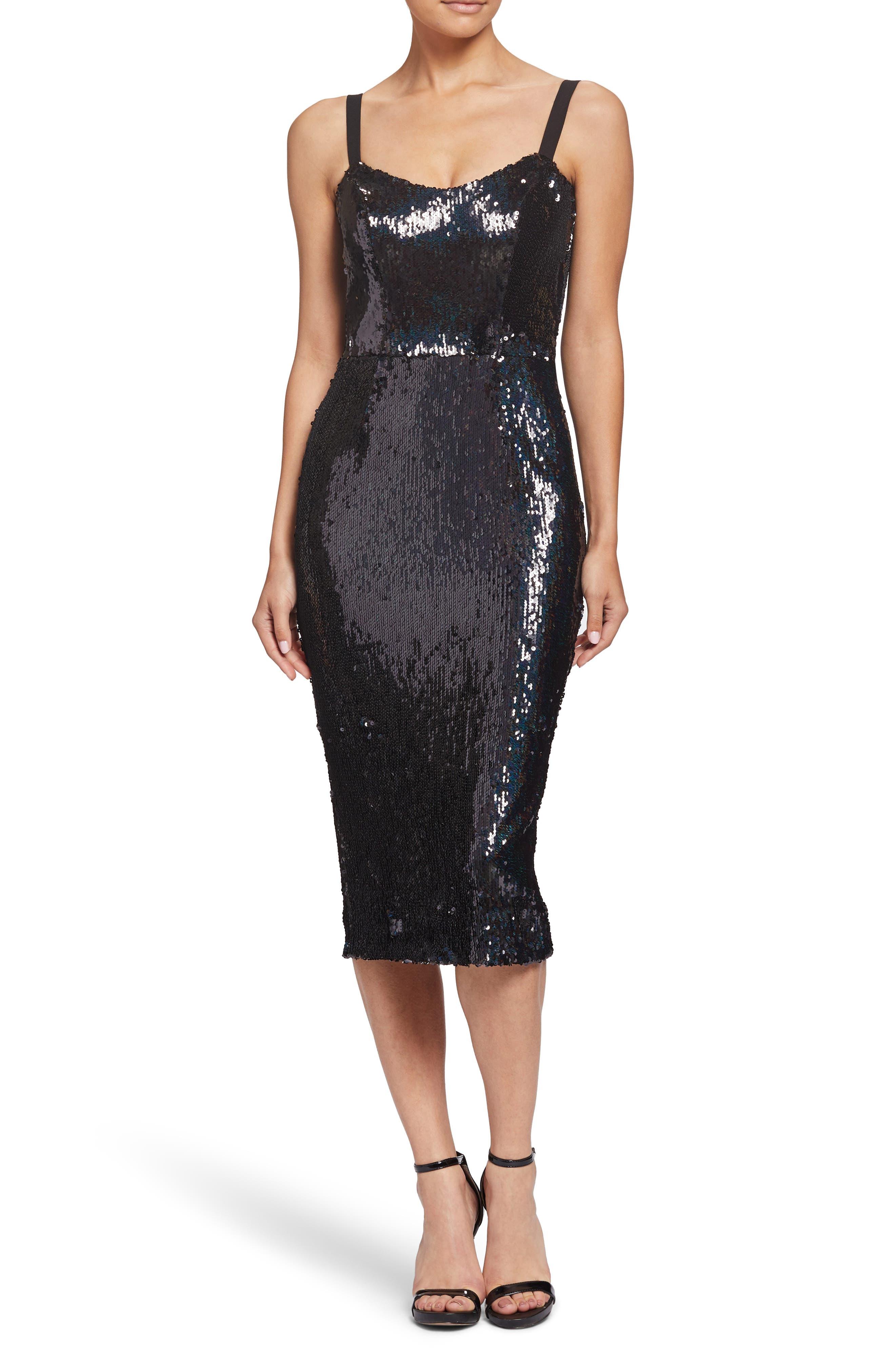 Lynda High Shine Sequin Cocktail Sheath Dress,                             Main thumbnail 1, color,                             BLACK PEARL