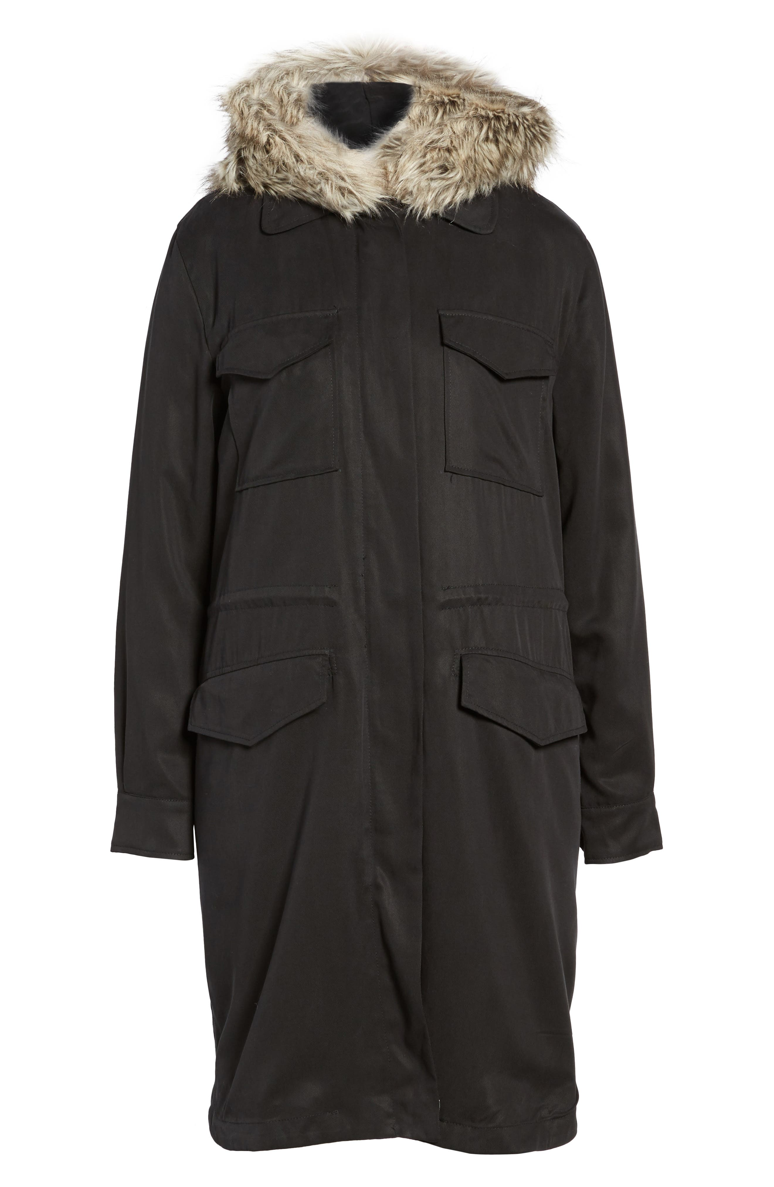 Walsh Tencel<sup>®</sup> Coat with Detachable Hooded Faux Fur Vest,                             Alternate thumbnail 5, color,                             001