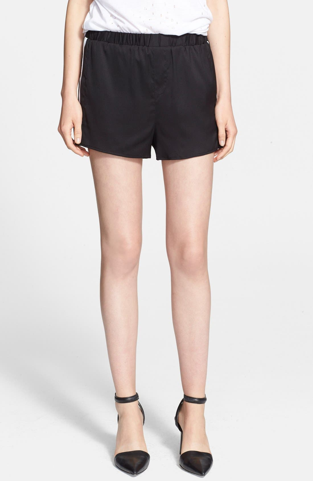 T by Alexander Wang Stretch Silk Twill Shorts,                             Alternate thumbnail 3, color,                             001