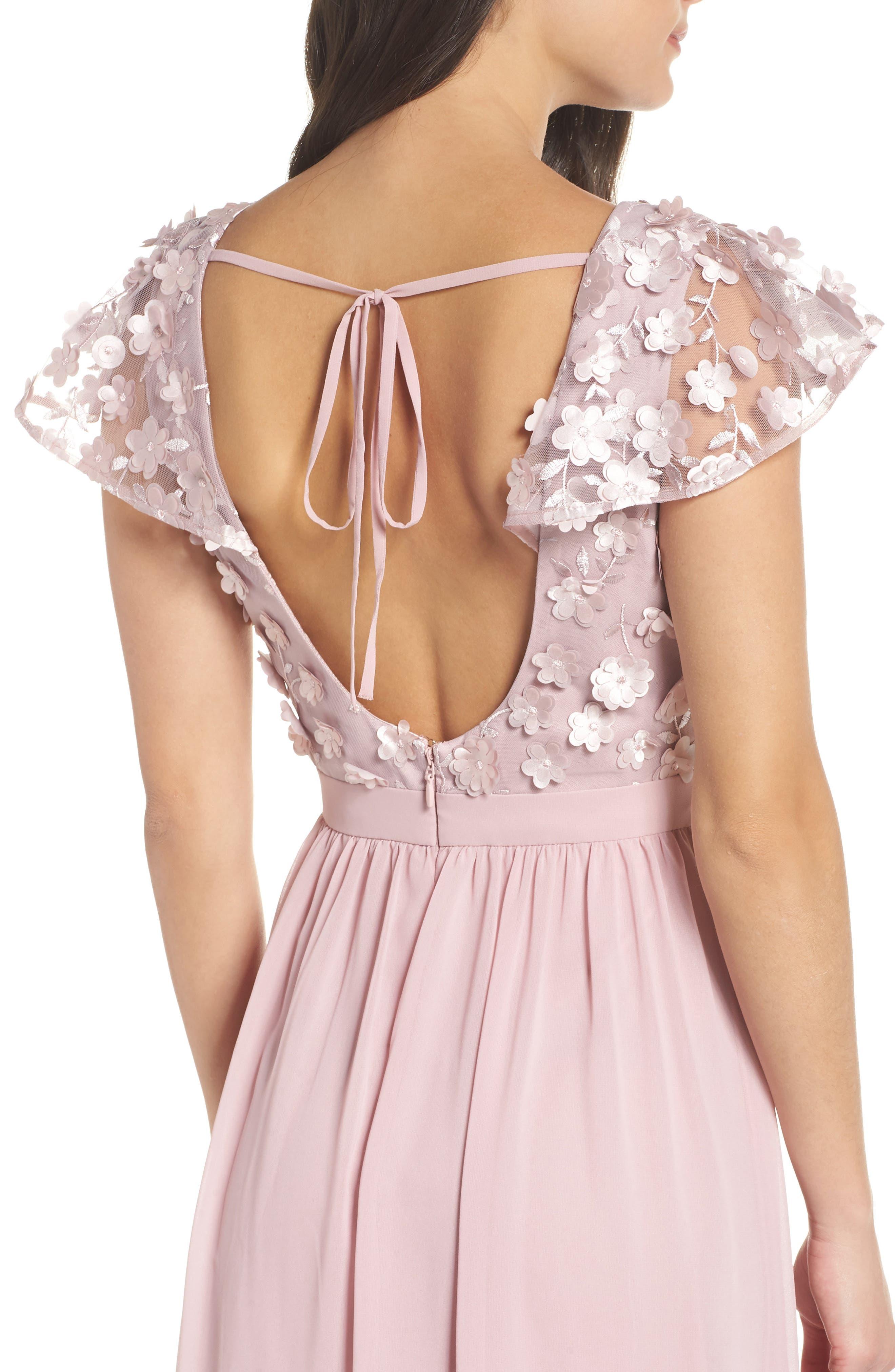 3D Flower Gown,                             Alternate thumbnail 4, color,                             MINK