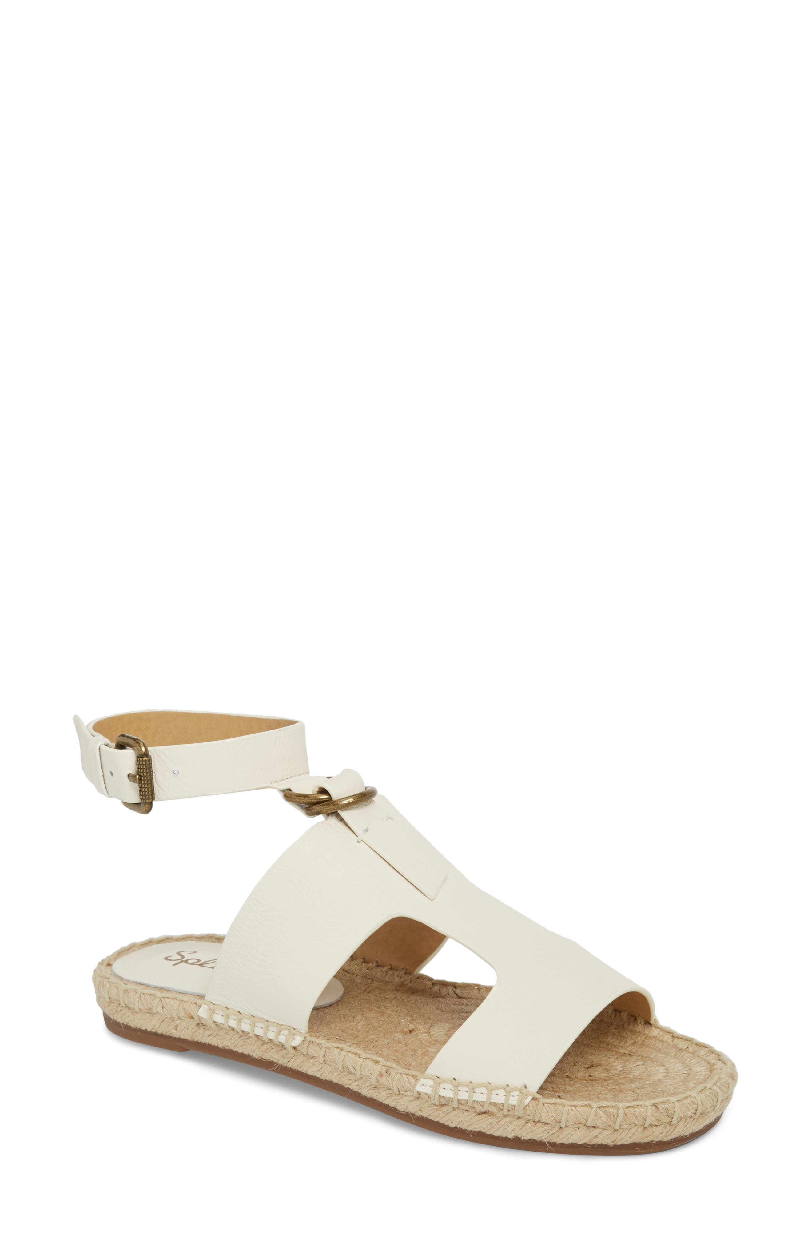 Farley Espadrille Sandal,                         Main,                         color, OFF WHITE LEATHER