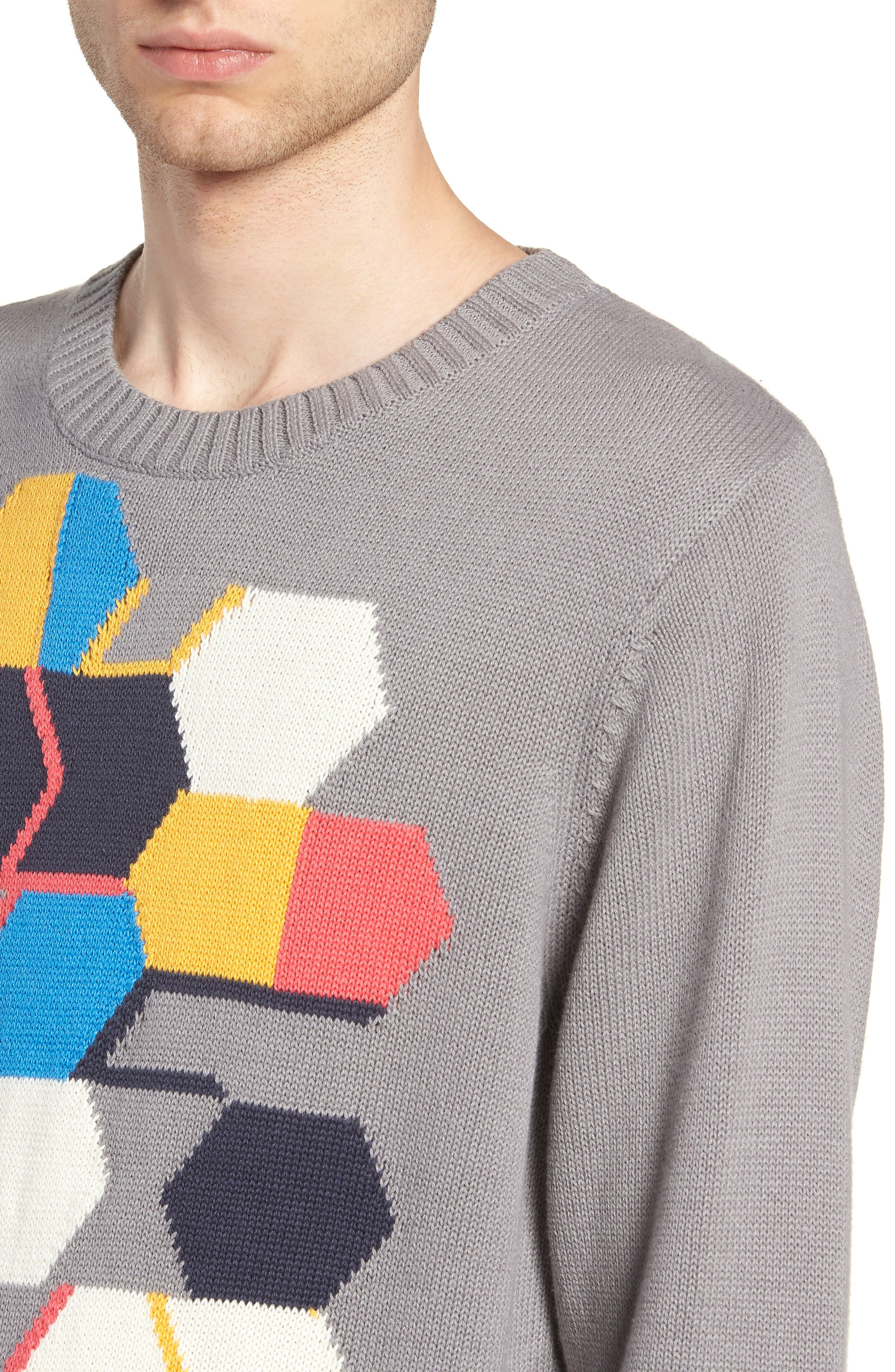 Geo Pattern Sweater,                             Alternate thumbnail 4, color,                             GREY MULTI GEO BLOCK
