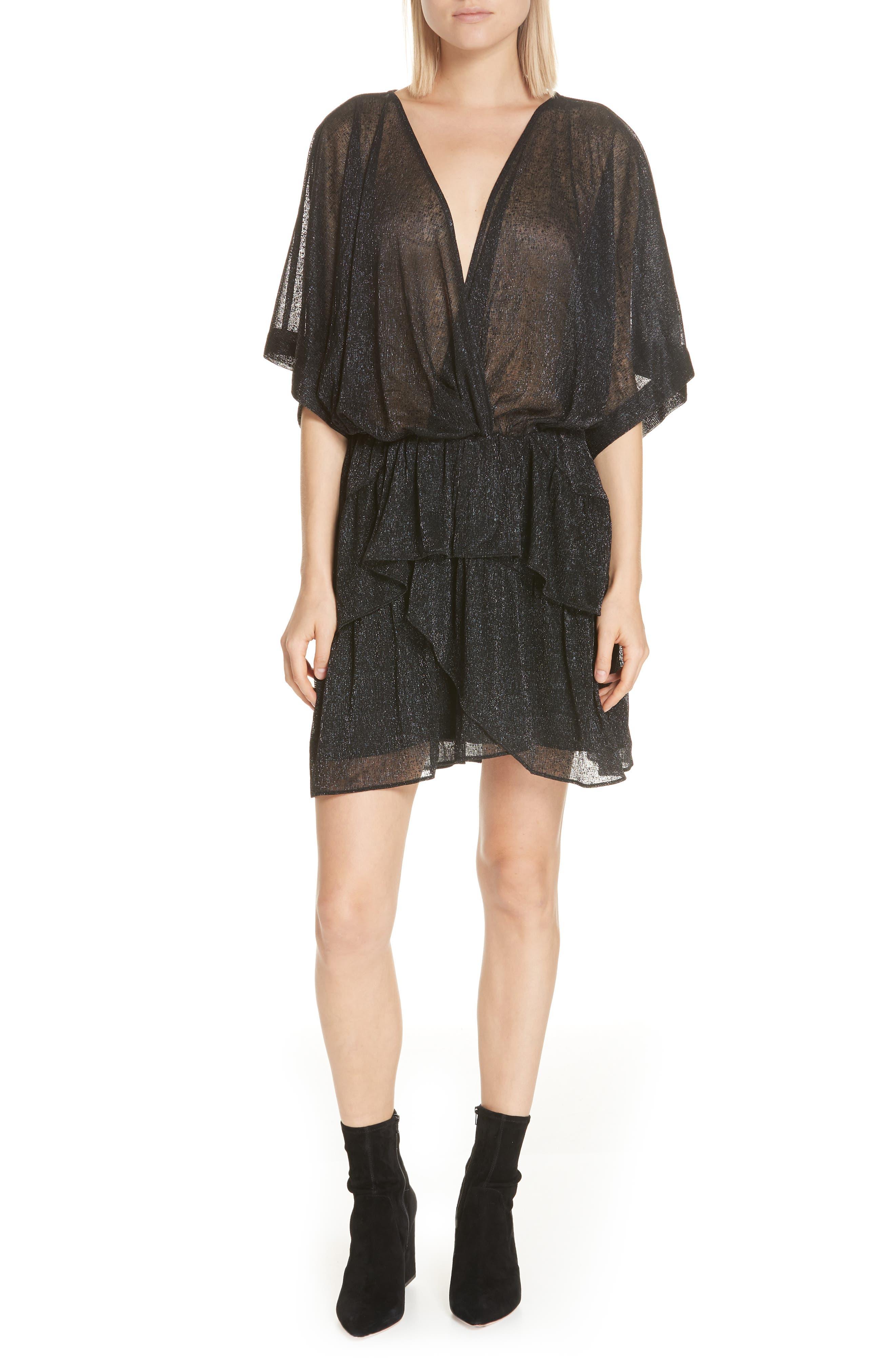 Iro Wide Metallic Tiered Minidress, US / 40 FR - Black