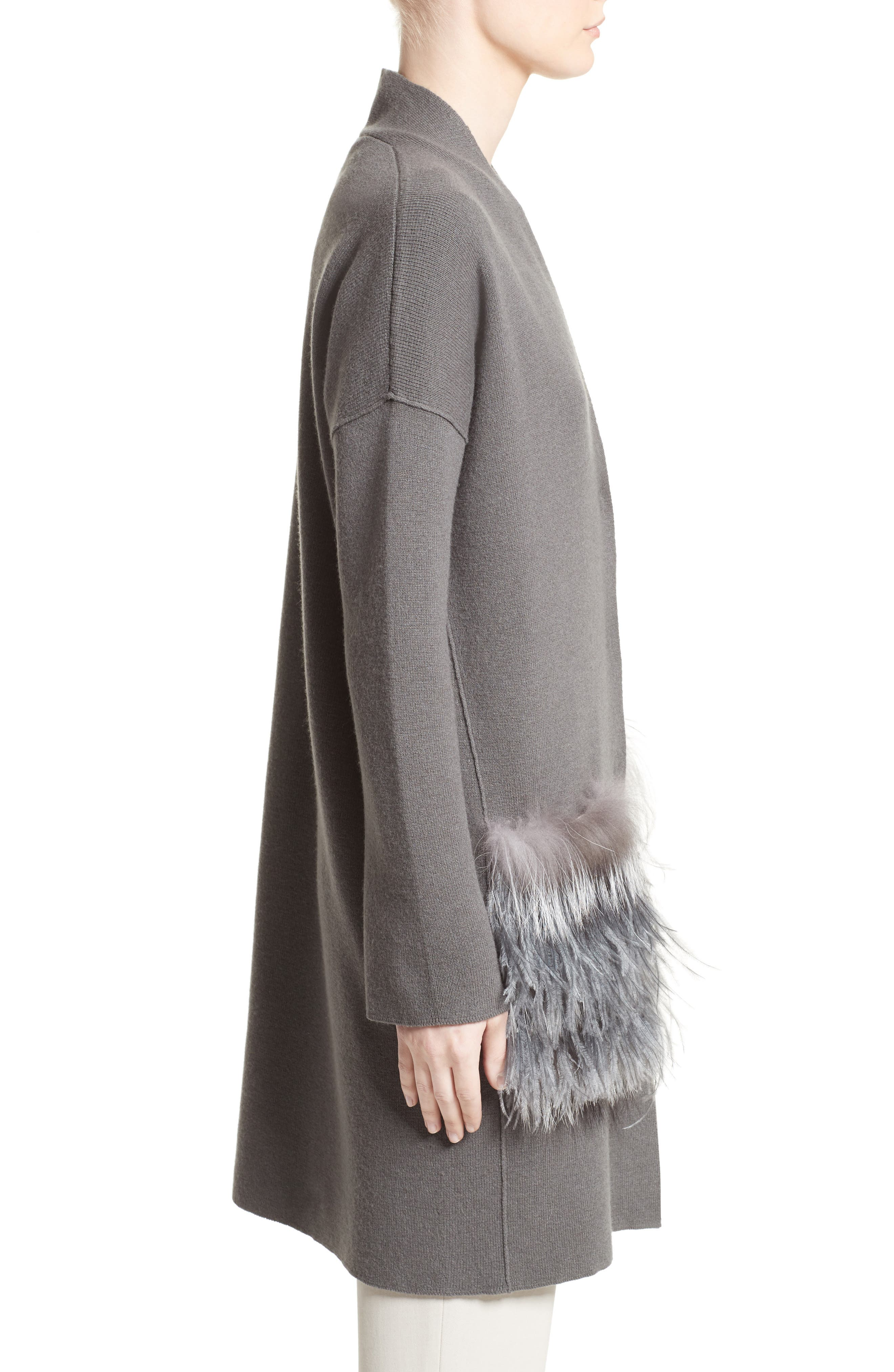 Wool, Silk & Cashmere Cardigan with Genuine Fox Fur & Ostrich Feather Trim,                             Alternate thumbnail 3, color,                             021