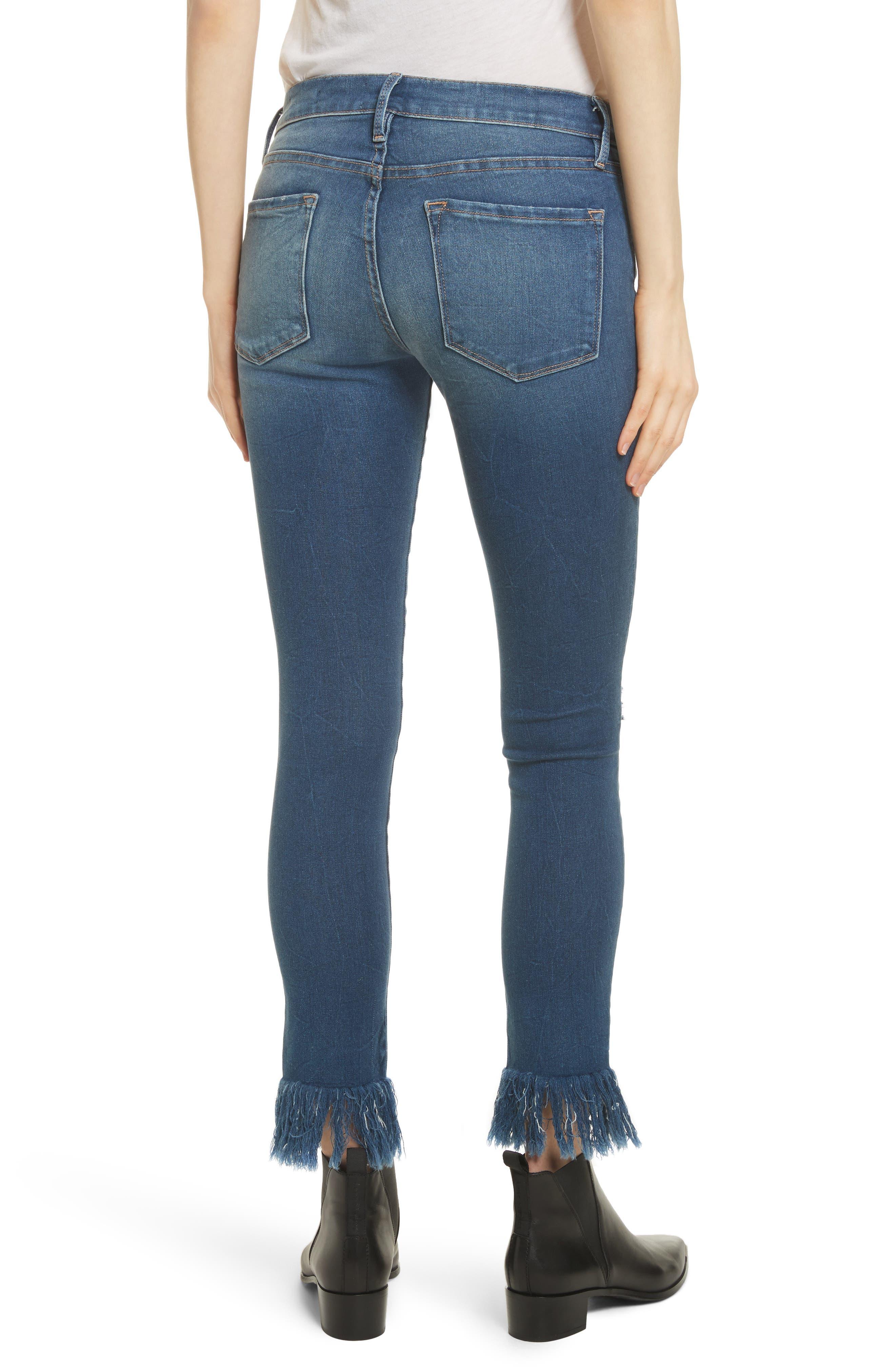 Le Skinny de Jeanne Shredded Raw Hem Jeans,                             Alternate thumbnail 2, color,