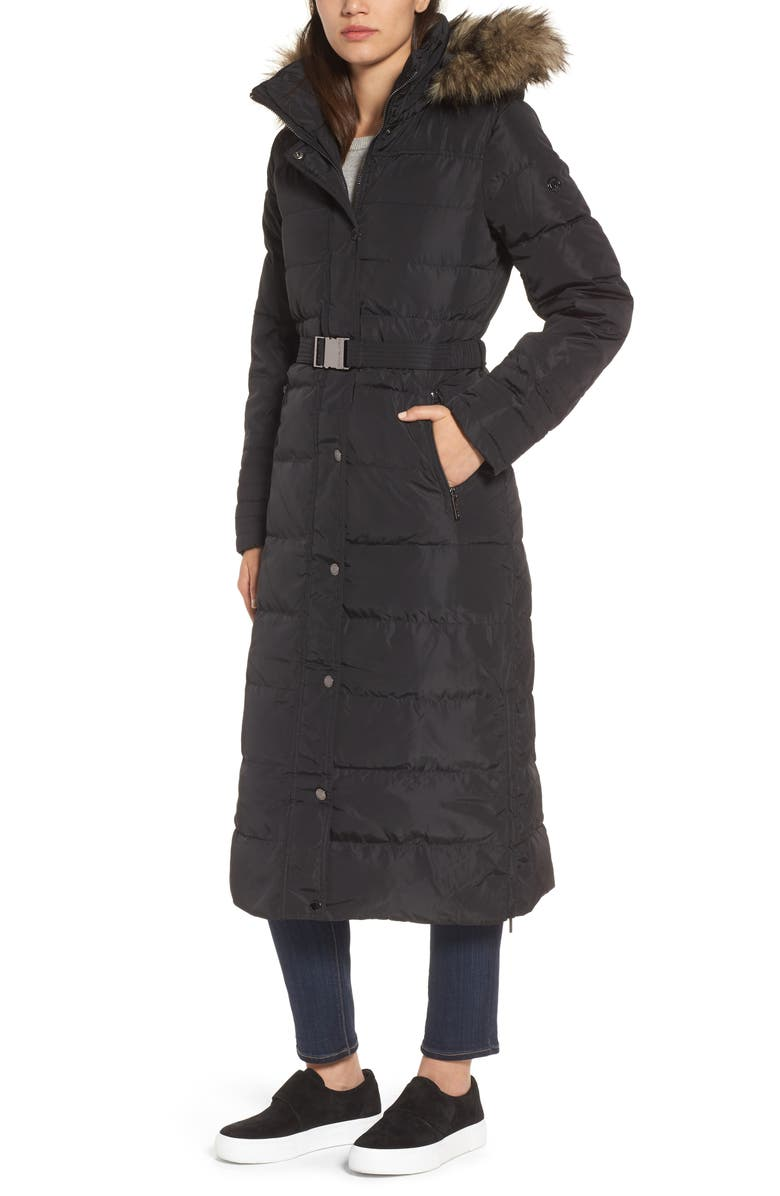 e84225ba0c6 MICHAEL MICHAEL KORS Water Resistant Maxi Puffer Coat with Detachable Hood  and Faux Fur Trim