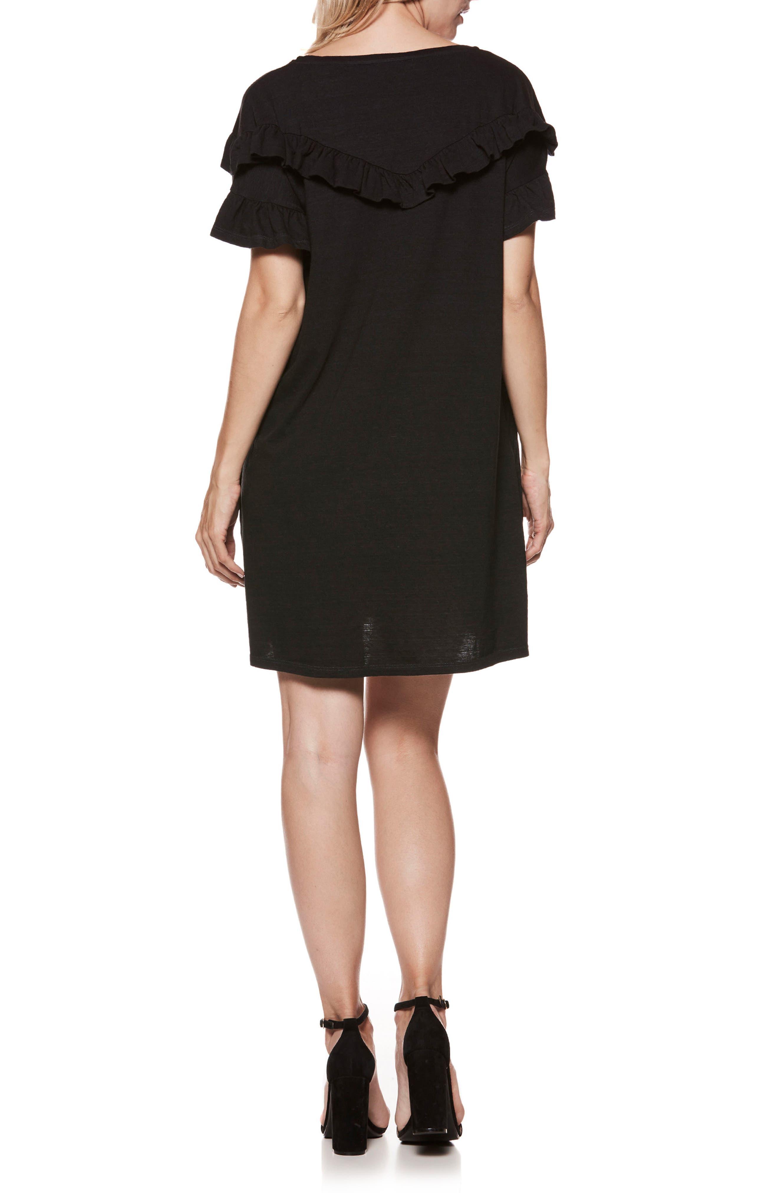 Adalie Ruffle T-Shirt Dress,                             Alternate thumbnail 2, color,                             001