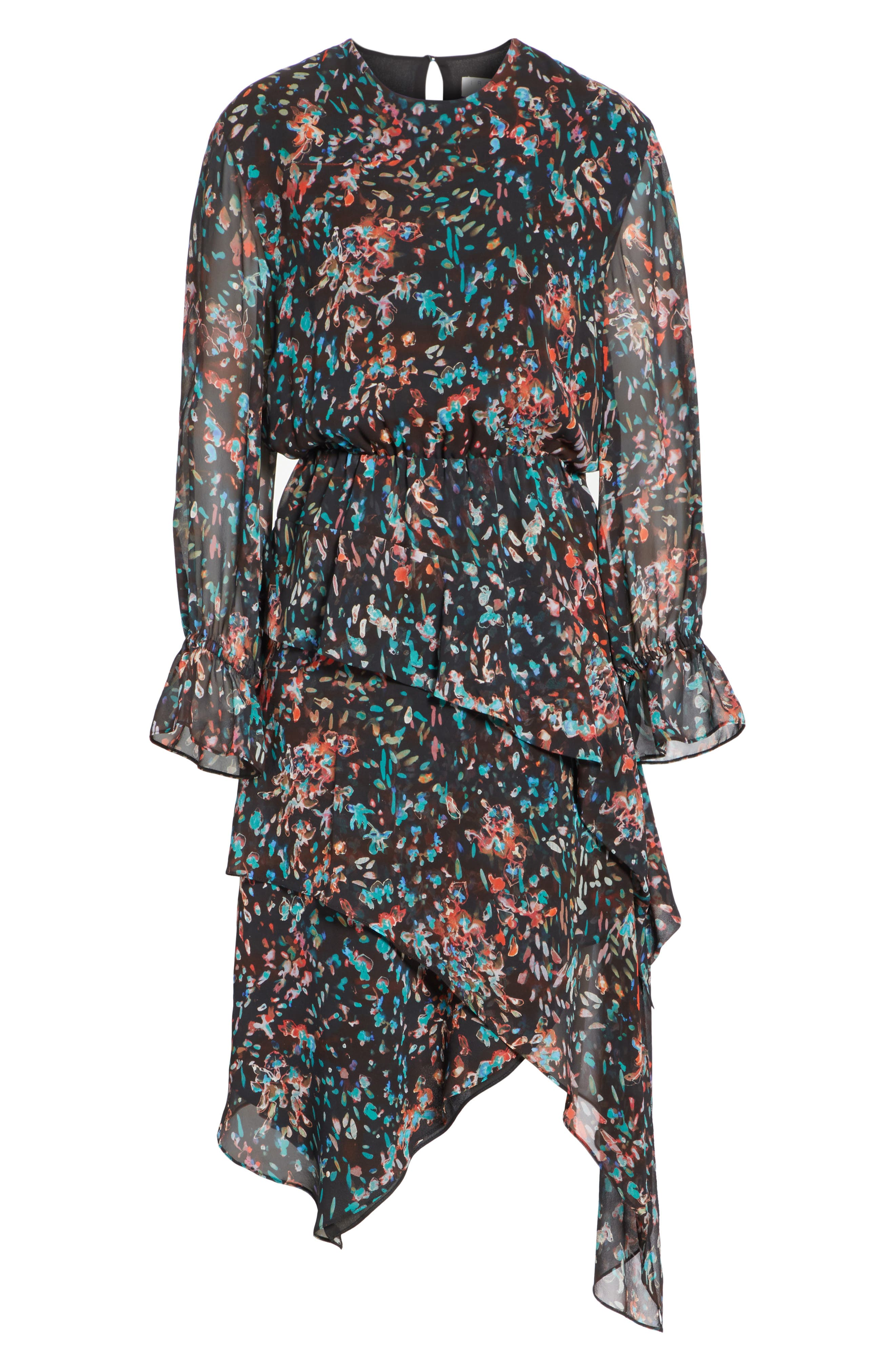 Print Asymmetrical Dress,                             Alternate thumbnail 6, color,                             BLACK