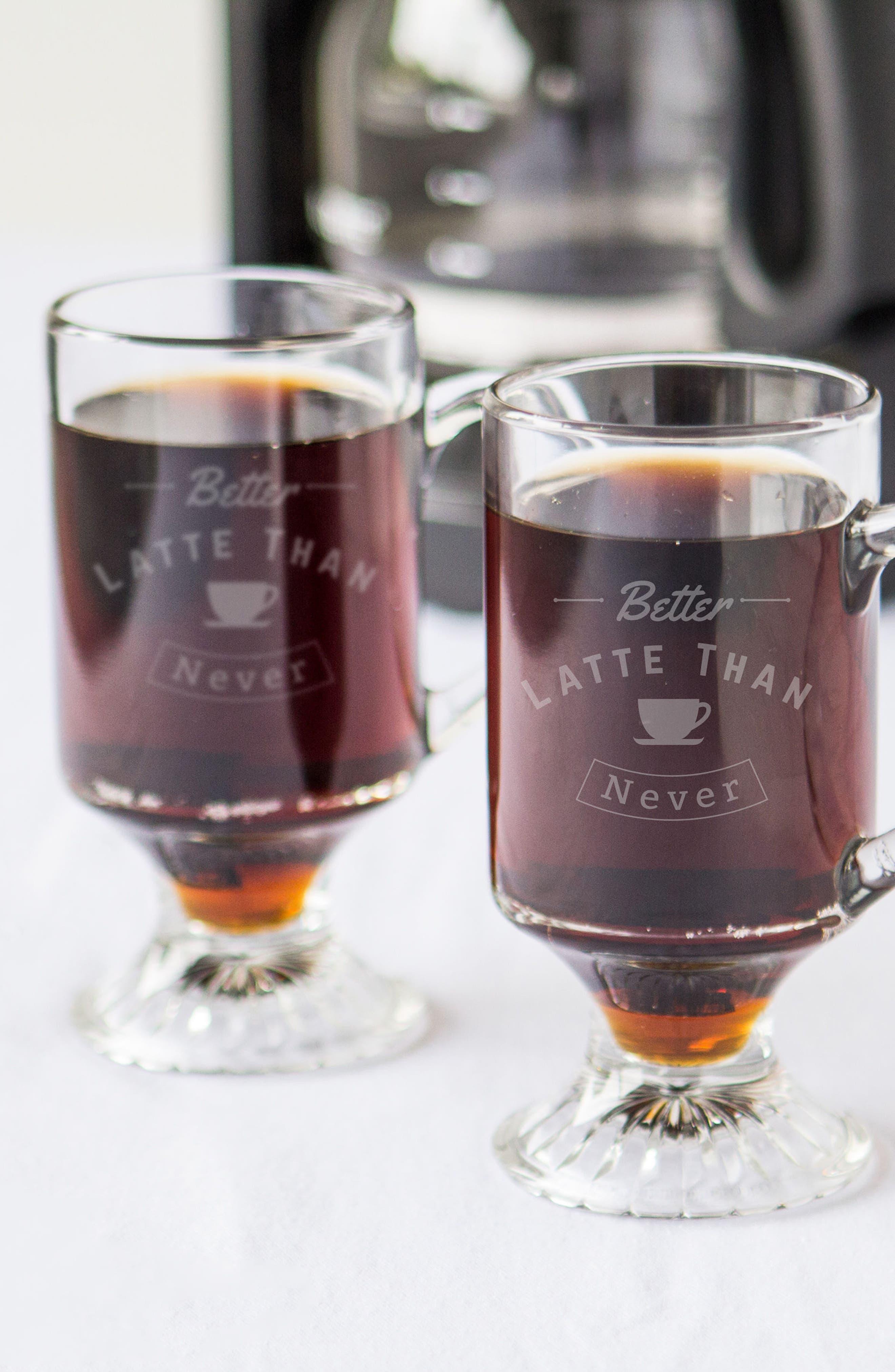 Better Latte Than Never Set of 4 Glass Mugs,                             Alternate thumbnail 4, color,                             100