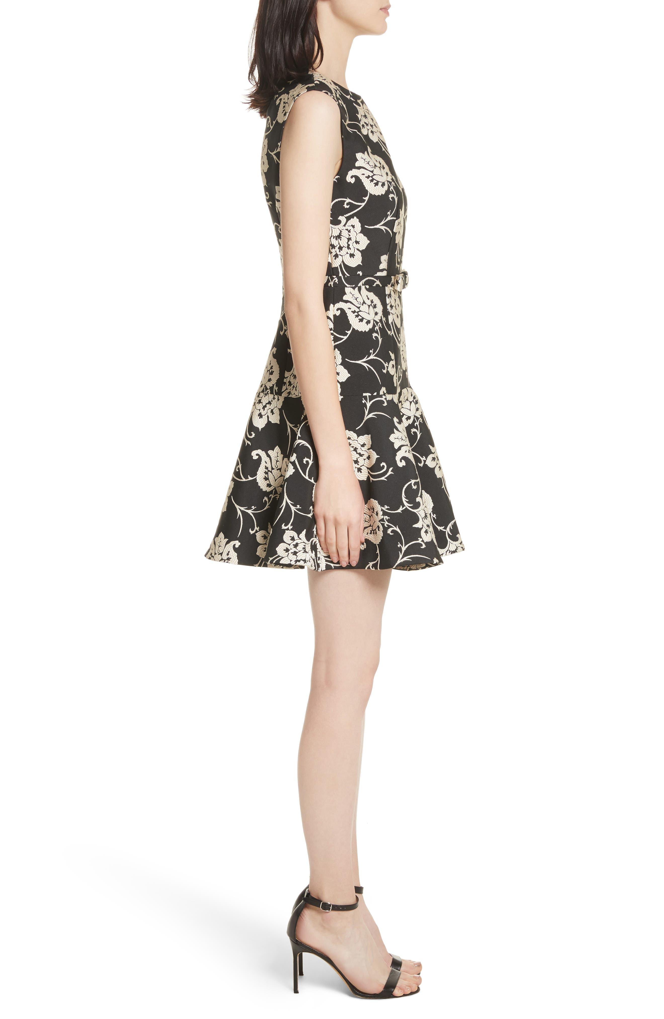 Ornate Paisley Ruffle Hem Dress,                             Alternate thumbnail 3, color,                             001