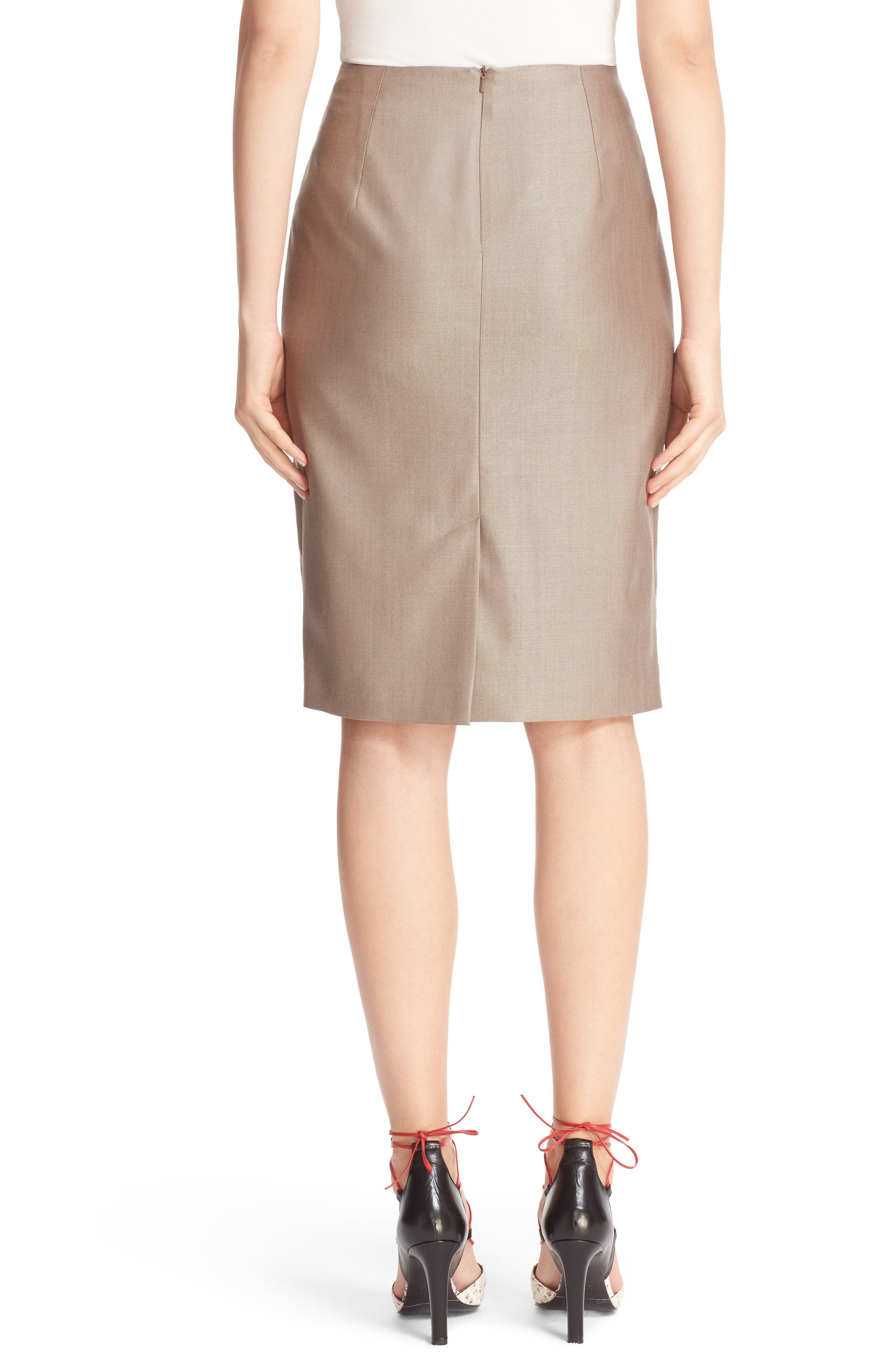 Wool Blend Pencil Skirt,                             Alternate thumbnail 3, color,                             220
