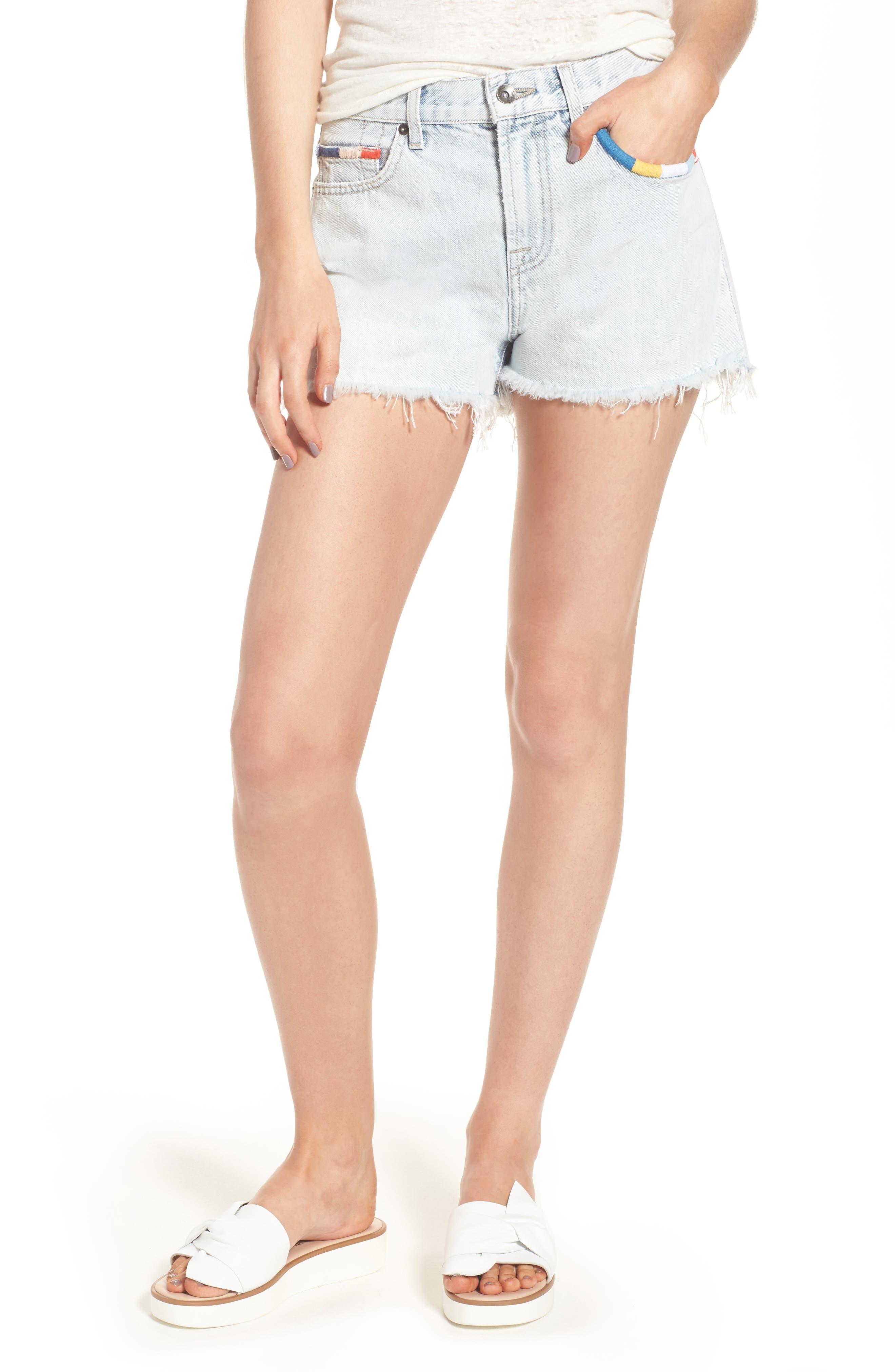 x Margherita Amore Denim Cutoff Shorts,                         Main,                         color, 429