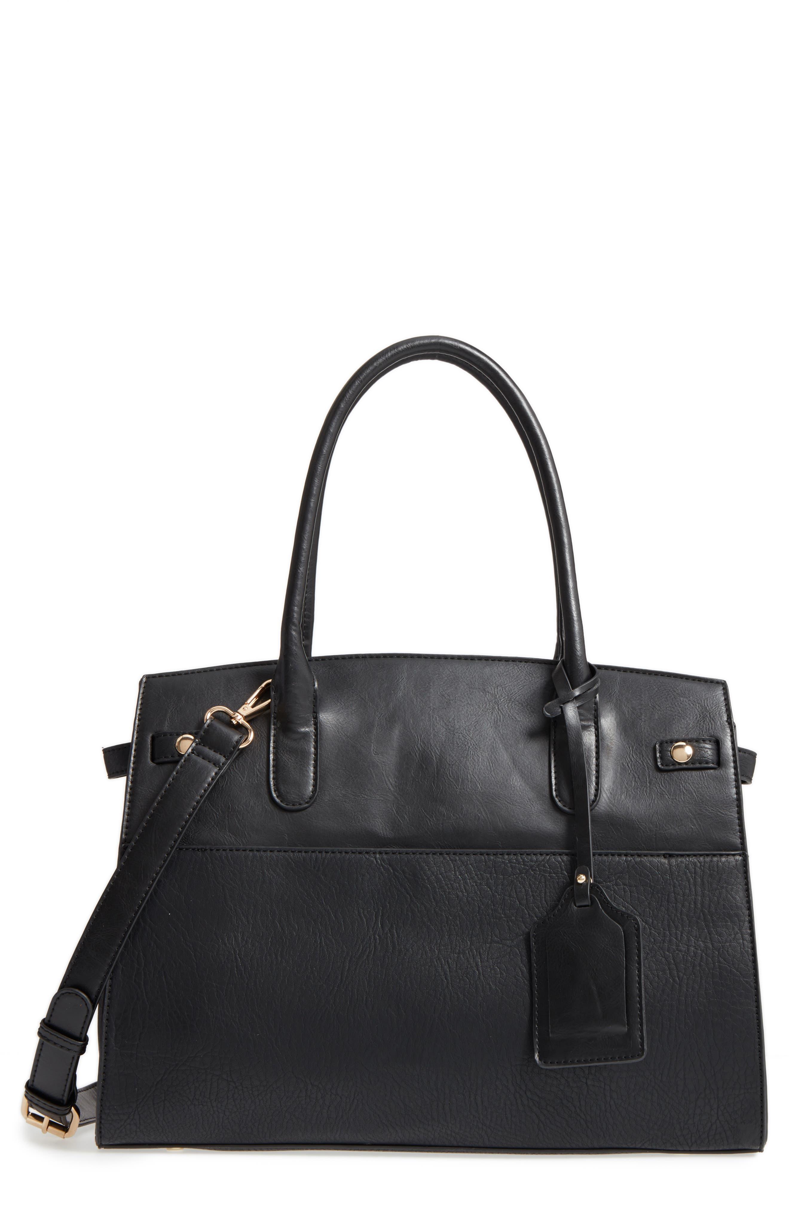 Ladylike Faux Leather Satchel,                         Main,                         color, 001