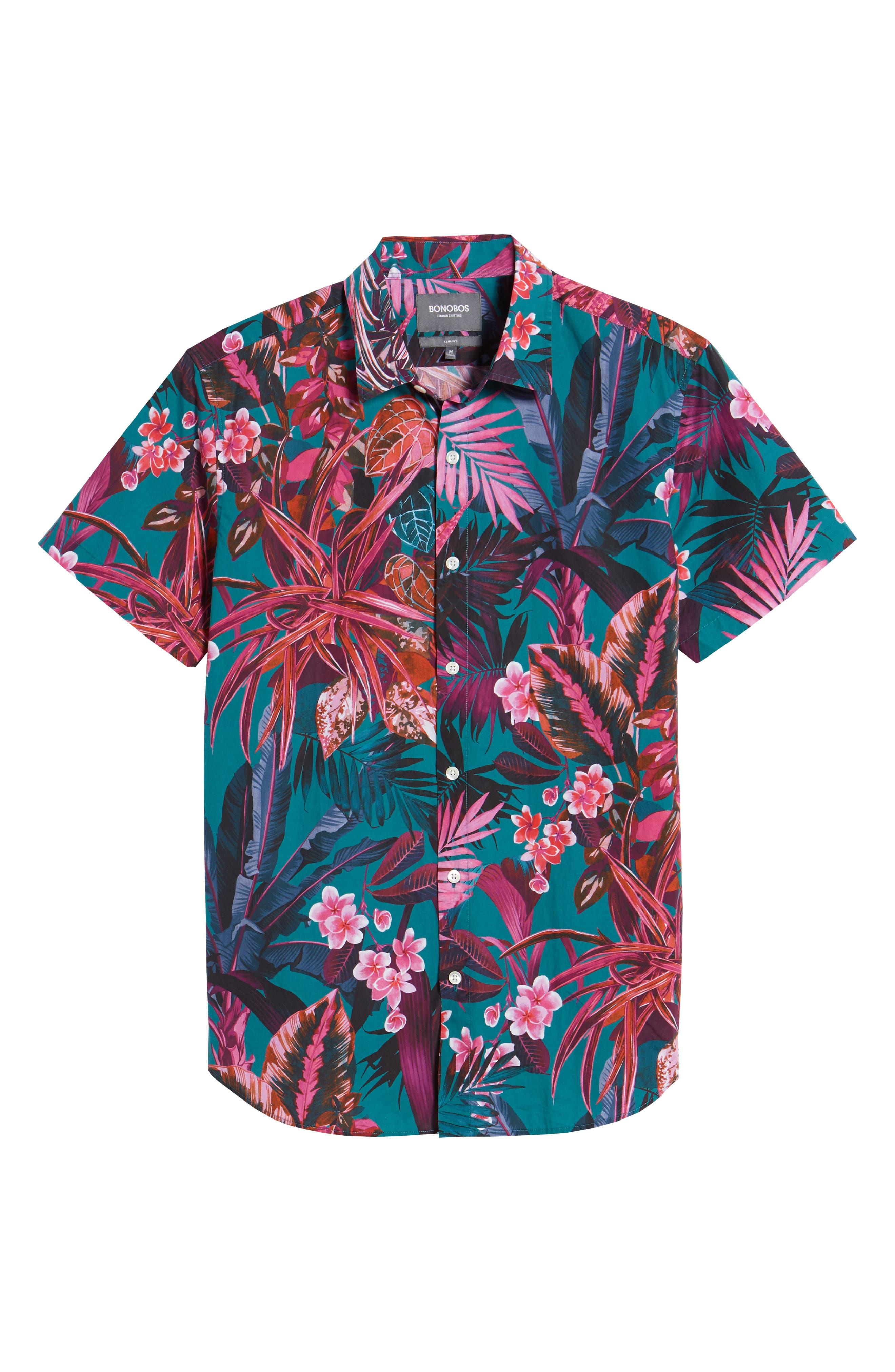 Premium Slim Fit Short Sleeve Print Sport Shirt,                             Alternate thumbnail 6, color,