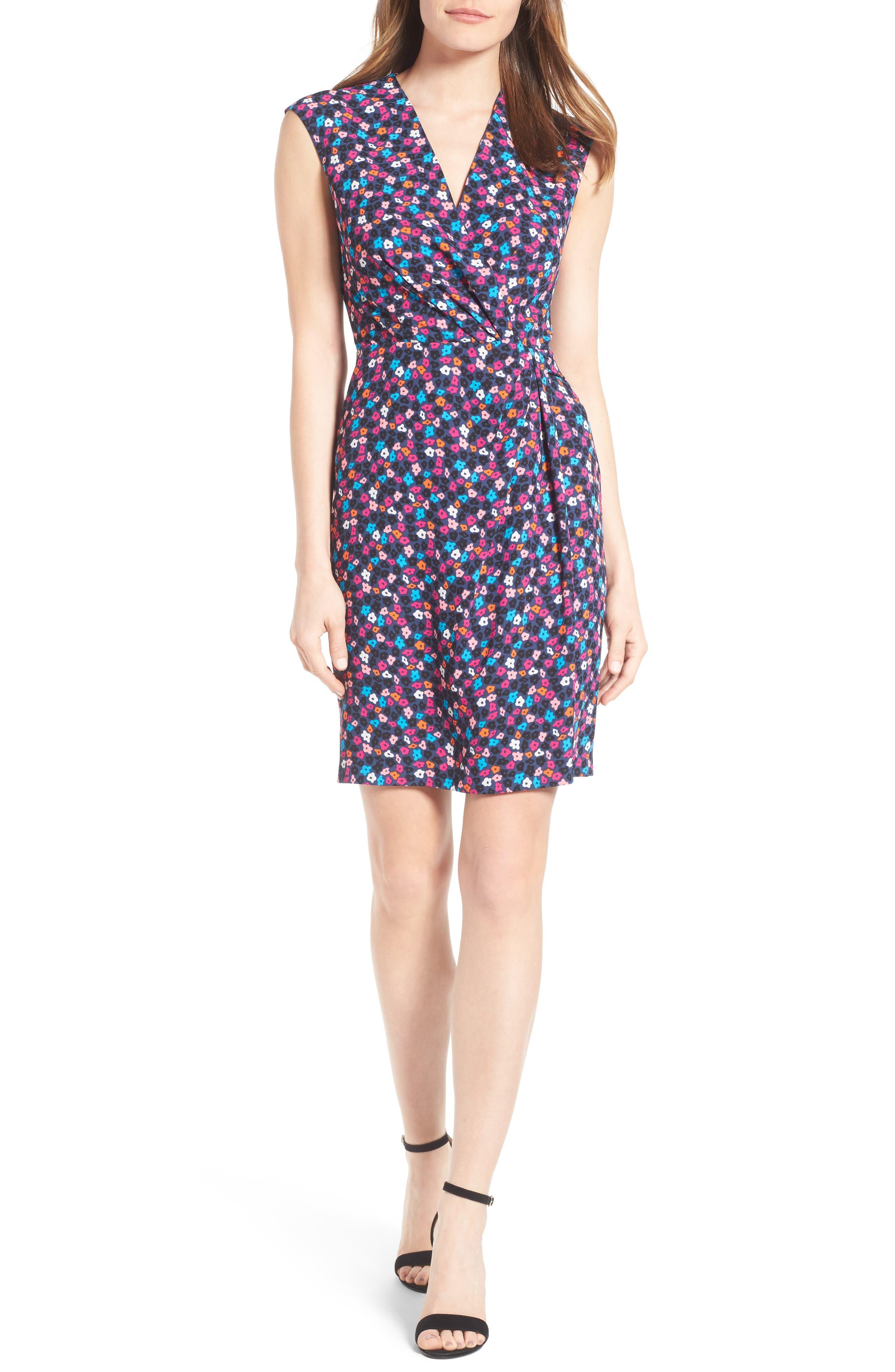 Adagio Print Faux Wrap Dress,                         Main,                         color, 540