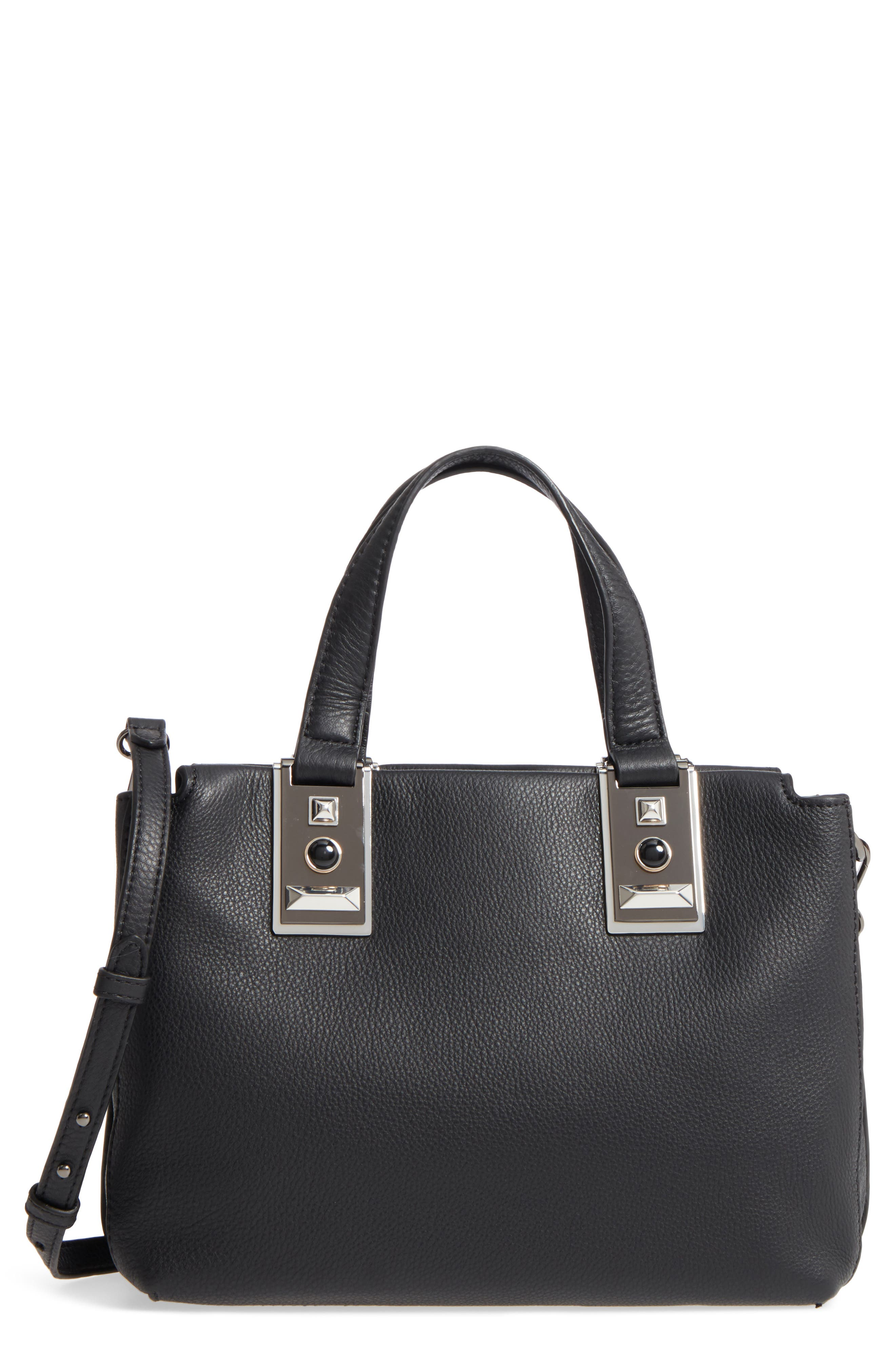 Bitty Leather Satchel,                             Main thumbnail 1, color,                             002