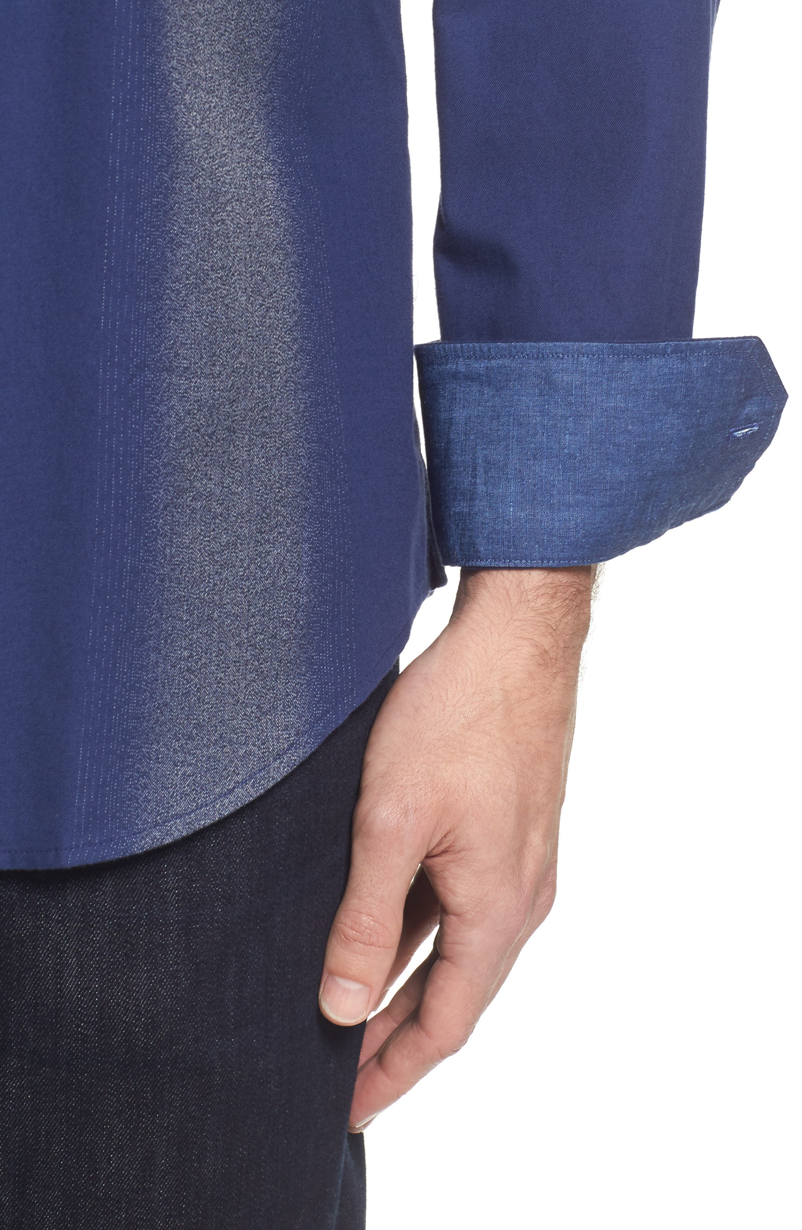 Classic Fit Ombré Stripe Sport Shirt,                             Alternate thumbnail 4, color,                             411