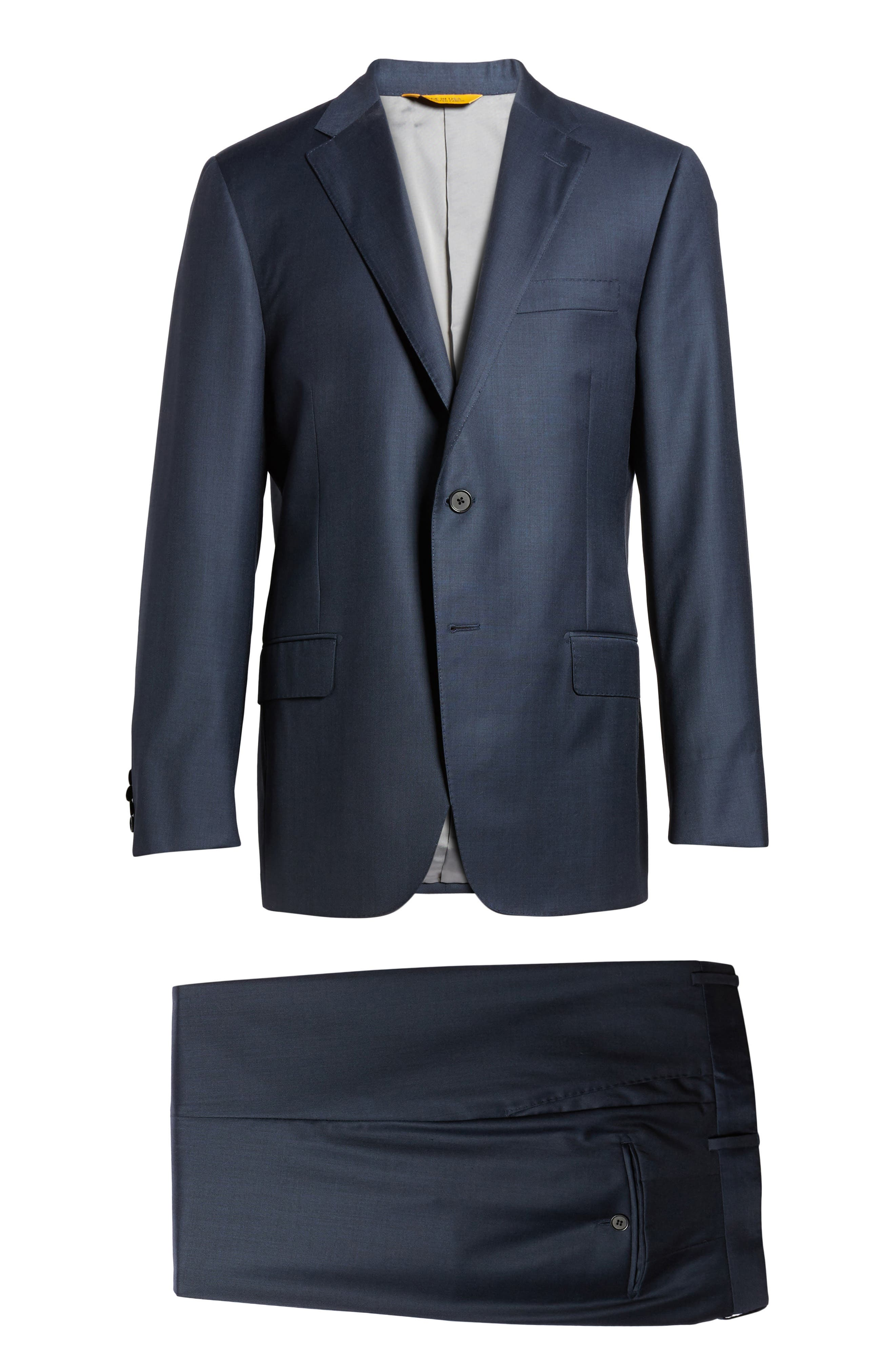 Classic B Fit Solid Loro Piana Wool Suit,                             Alternate thumbnail 8, color,                             NAVY SHARKSKIN