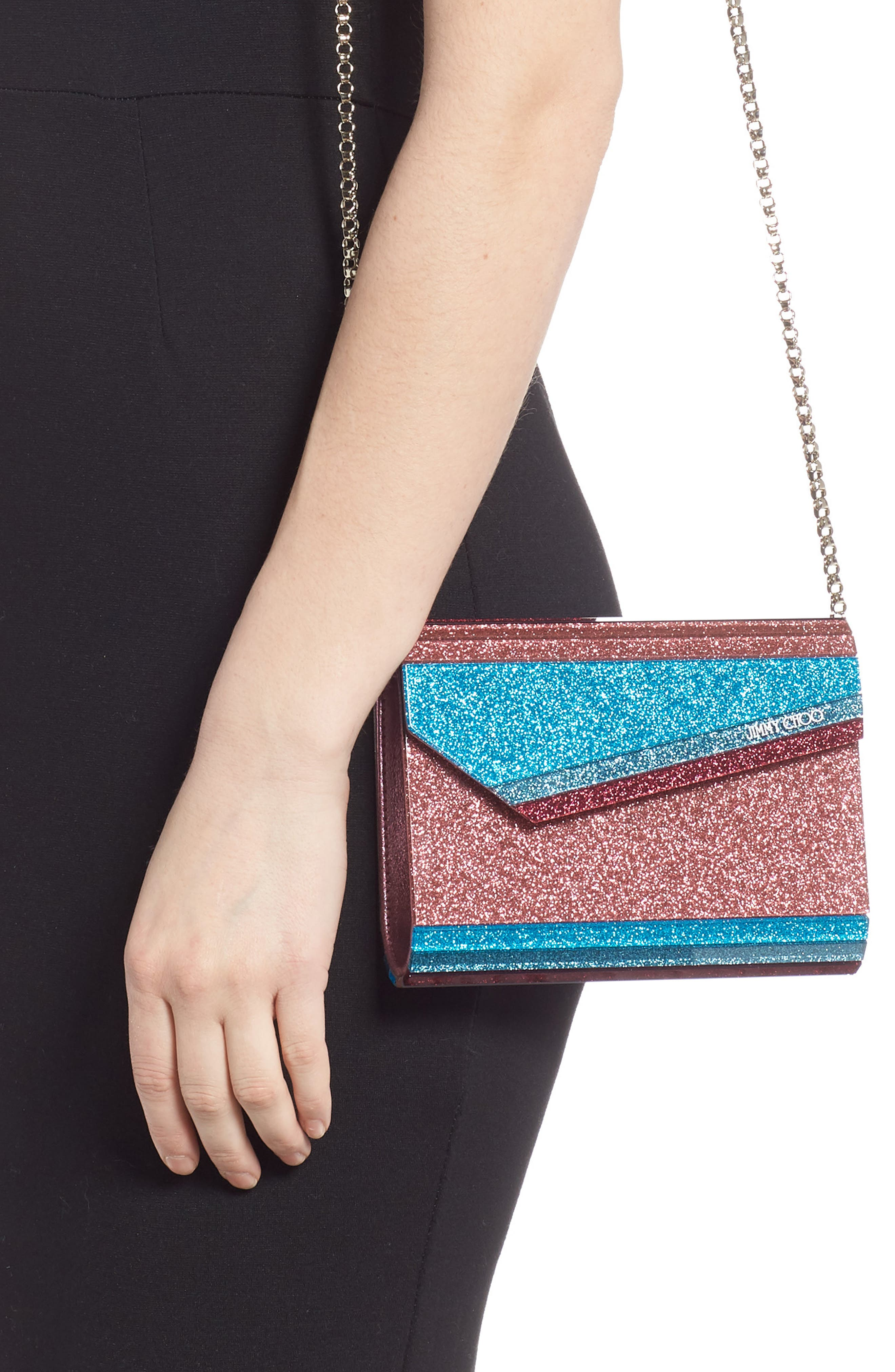 JIMMY CHOO,                             Candy Colorblock Glitter Clutch,                             Alternate thumbnail 2, color,                             RASPBERRY MIX