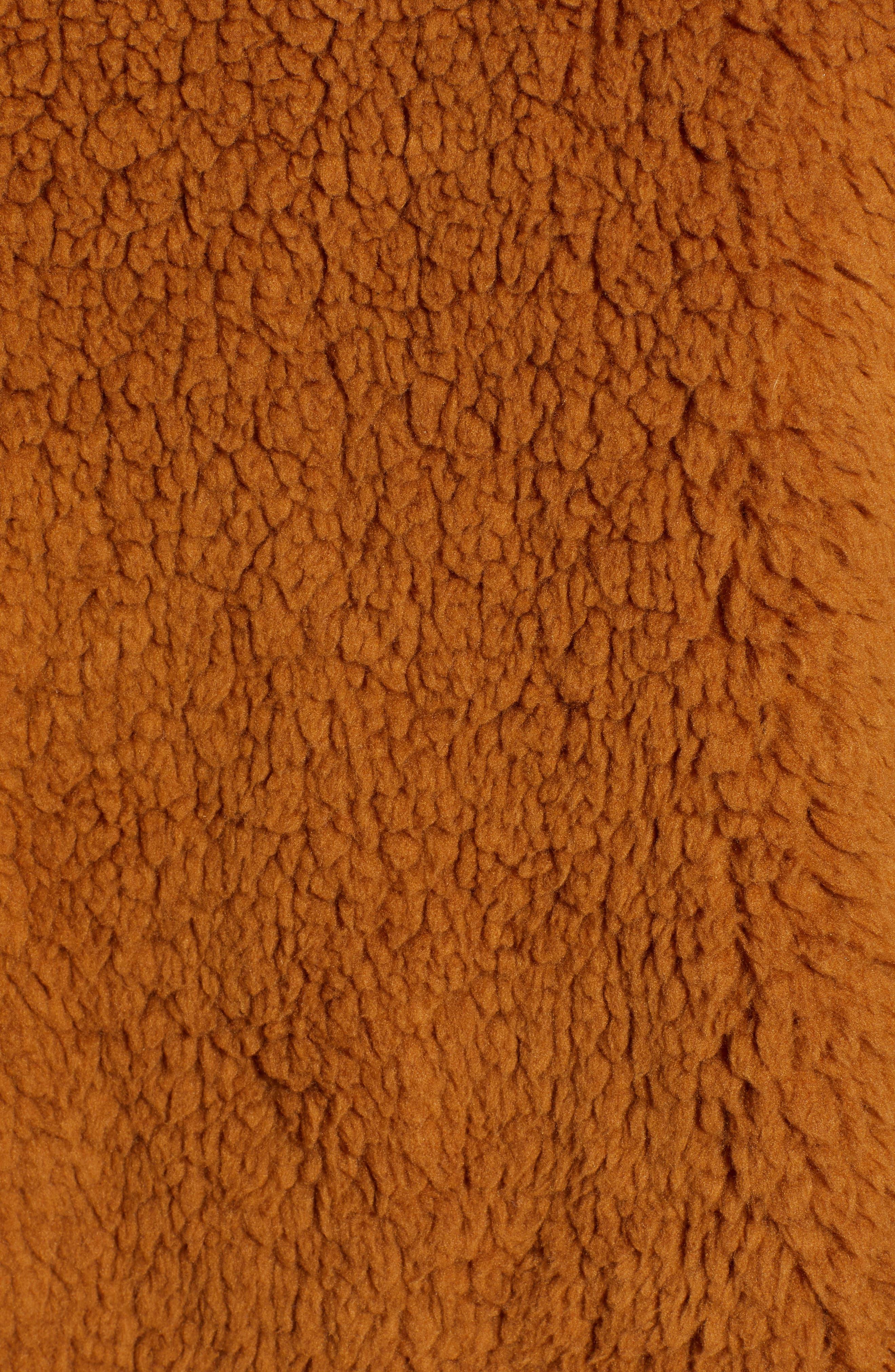 Faux Shearling Jacket,                             Alternate thumbnail 7, color,                             BROWN SADDLE