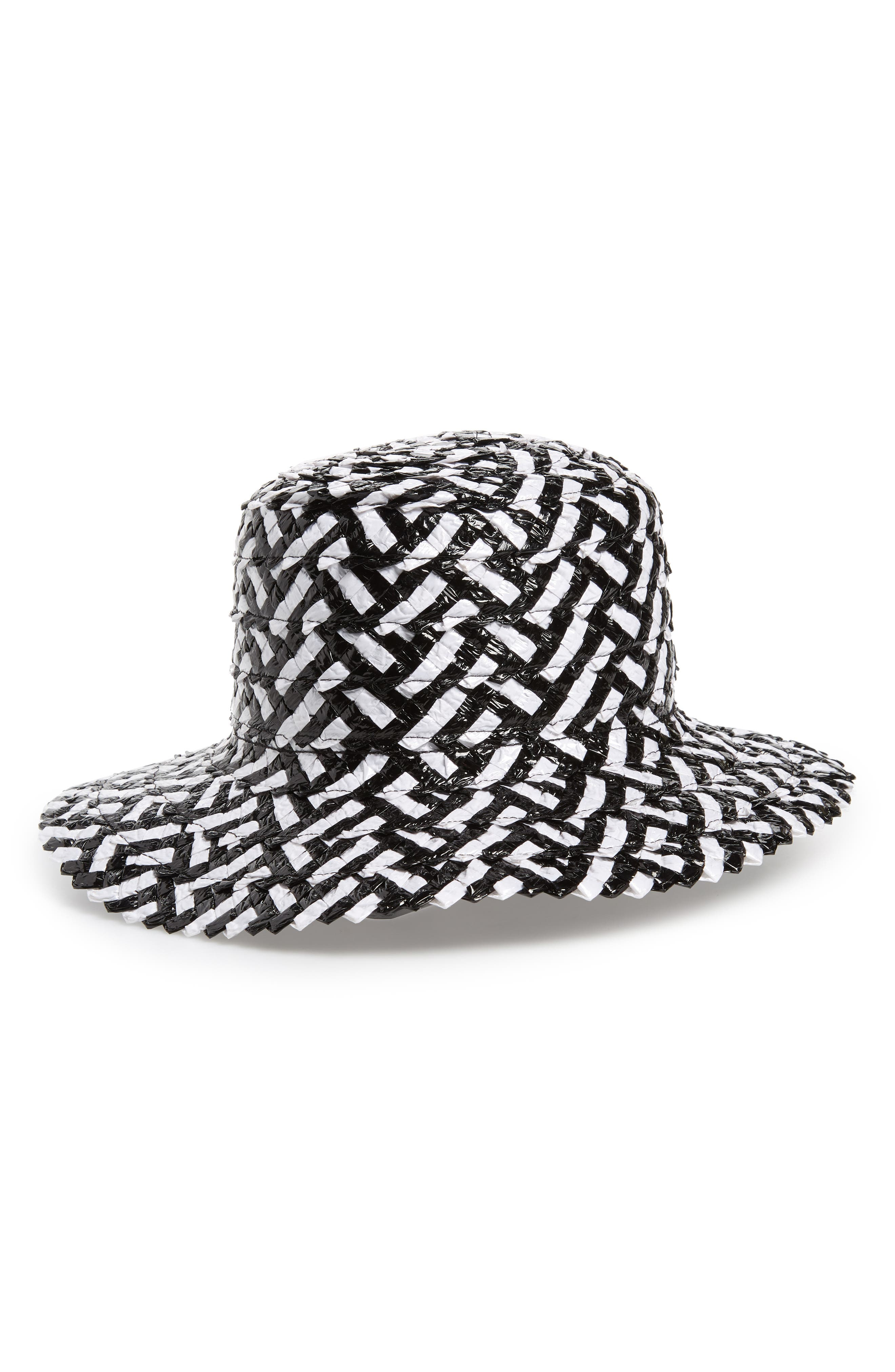 Stevie Straw Hat,                             Main thumbnail 1, color,                             WHITE/ BLACK