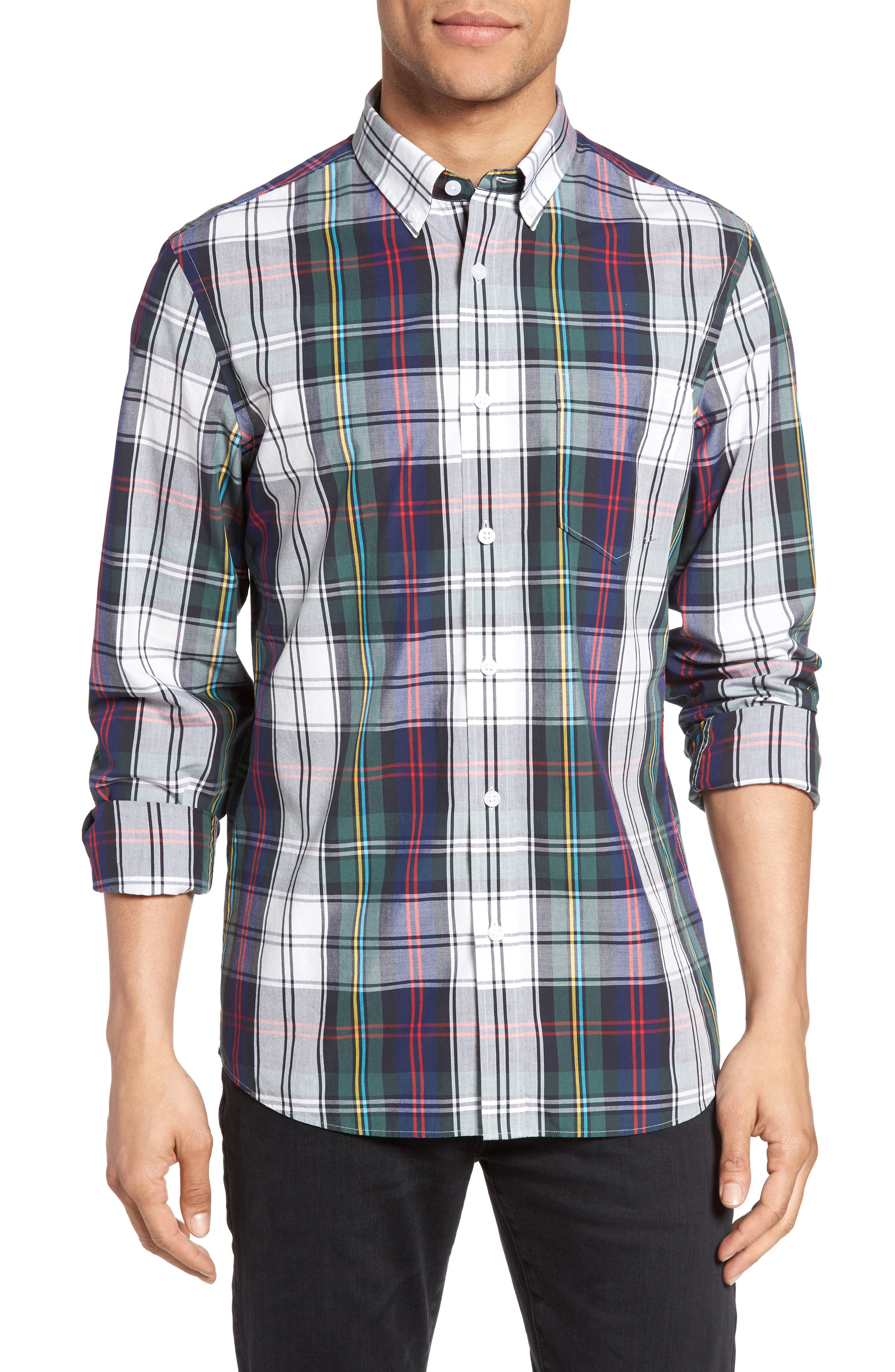 Slim Fit Plaid Sport Shirt,                         Main,                         color, 401