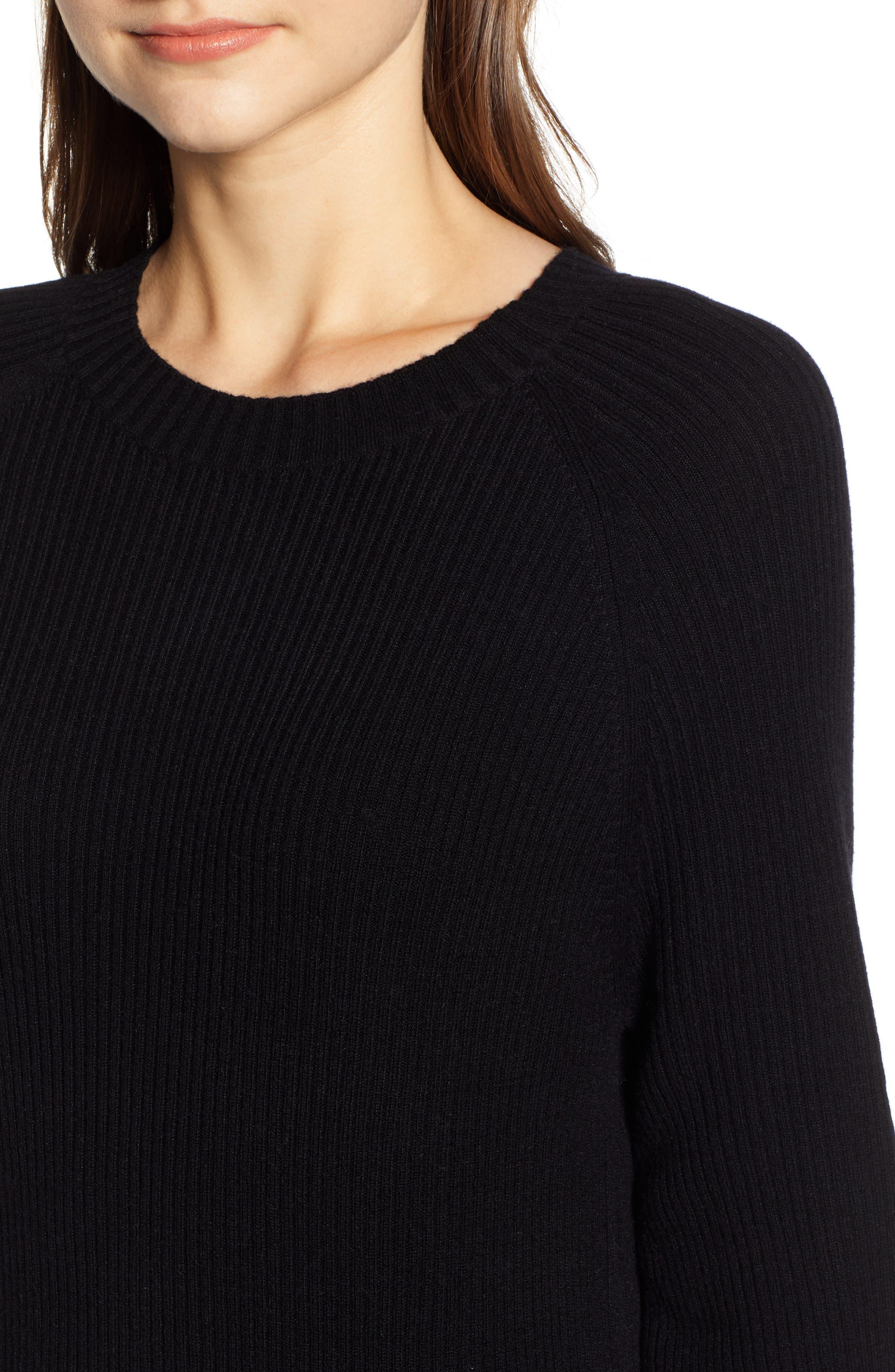 Quaid Knit Sweater Dress,                             Alternate thumbnail 4, color,                             TRUE BLACK