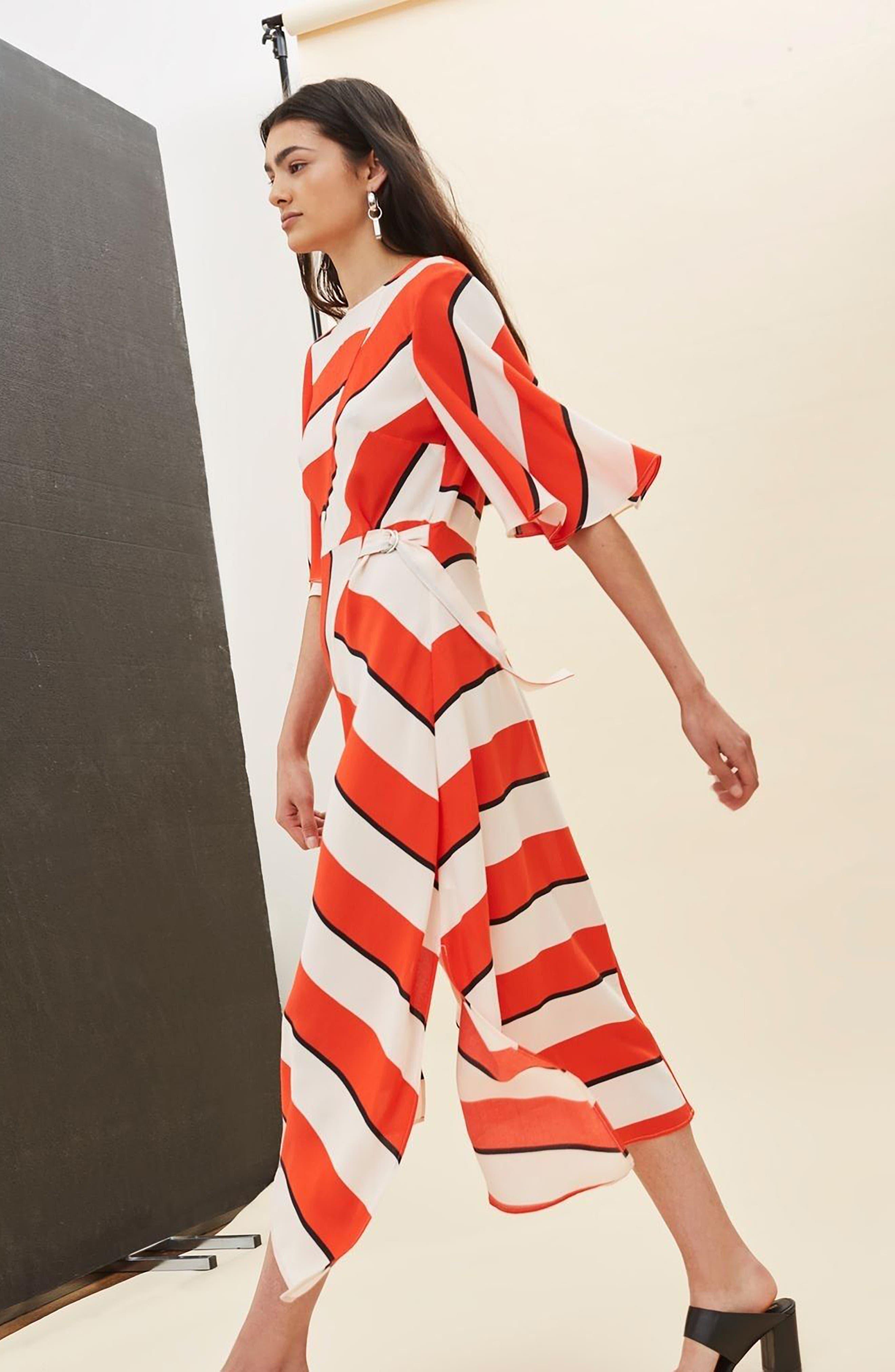 Diagonal Stripe Midi Dress,                             Alternate thumbnail 5, color,                             601