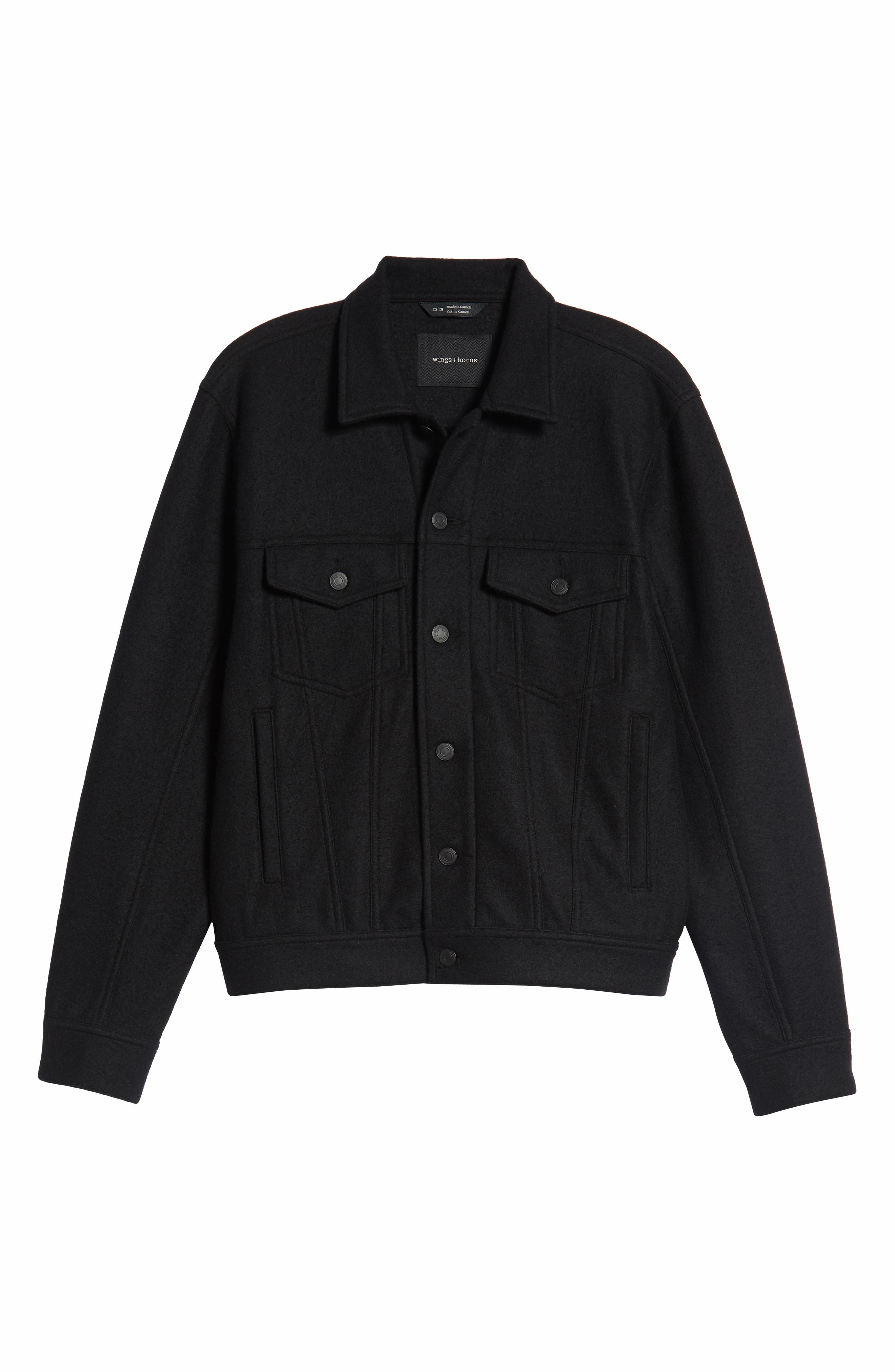 Wool Blend Trucker Jacket,                             Alternate thumbnail 5, color,                             BLACK