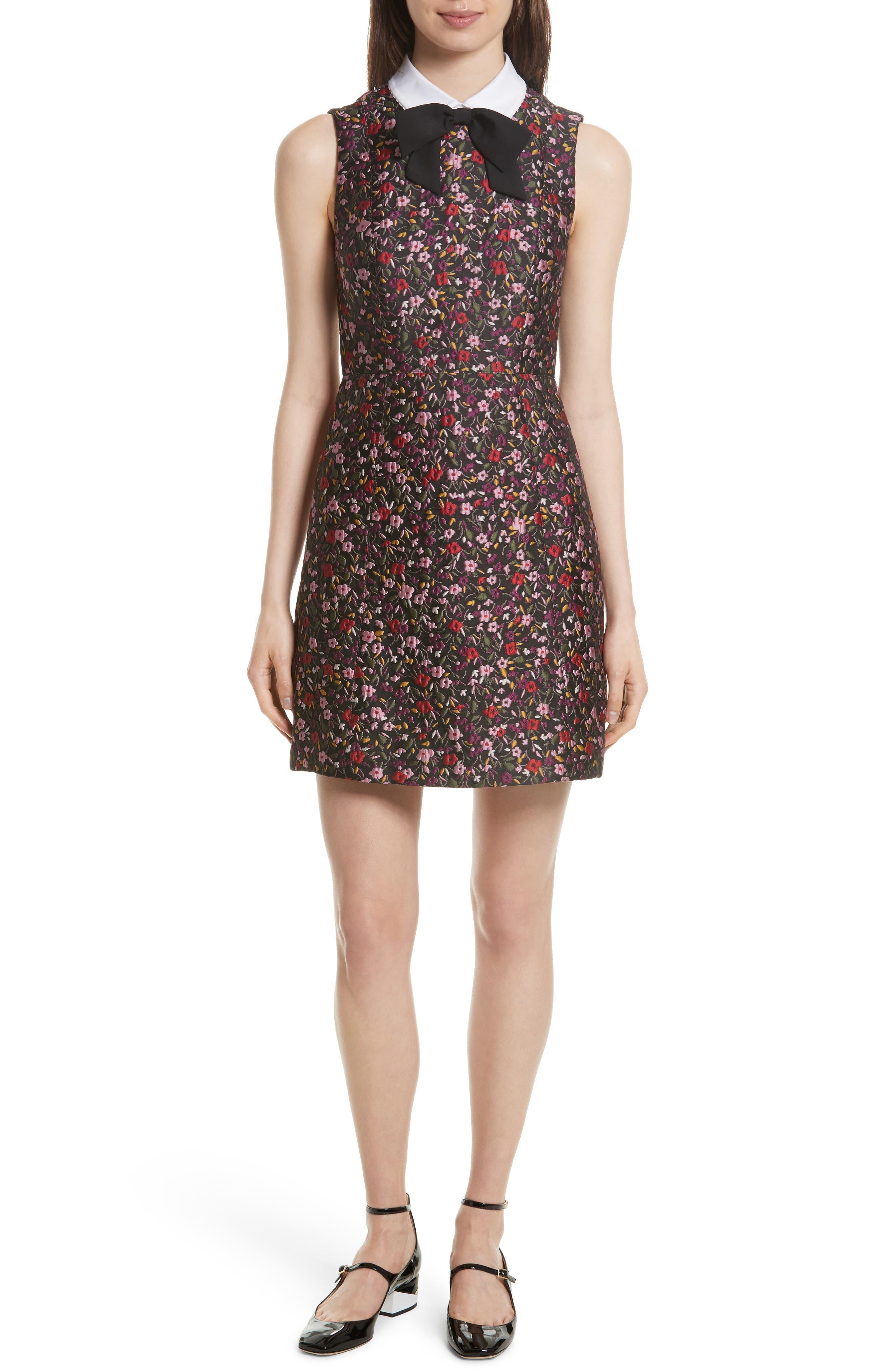 detachable collar floral jacquard dress,                             Main thumbnail 1, color,                             006