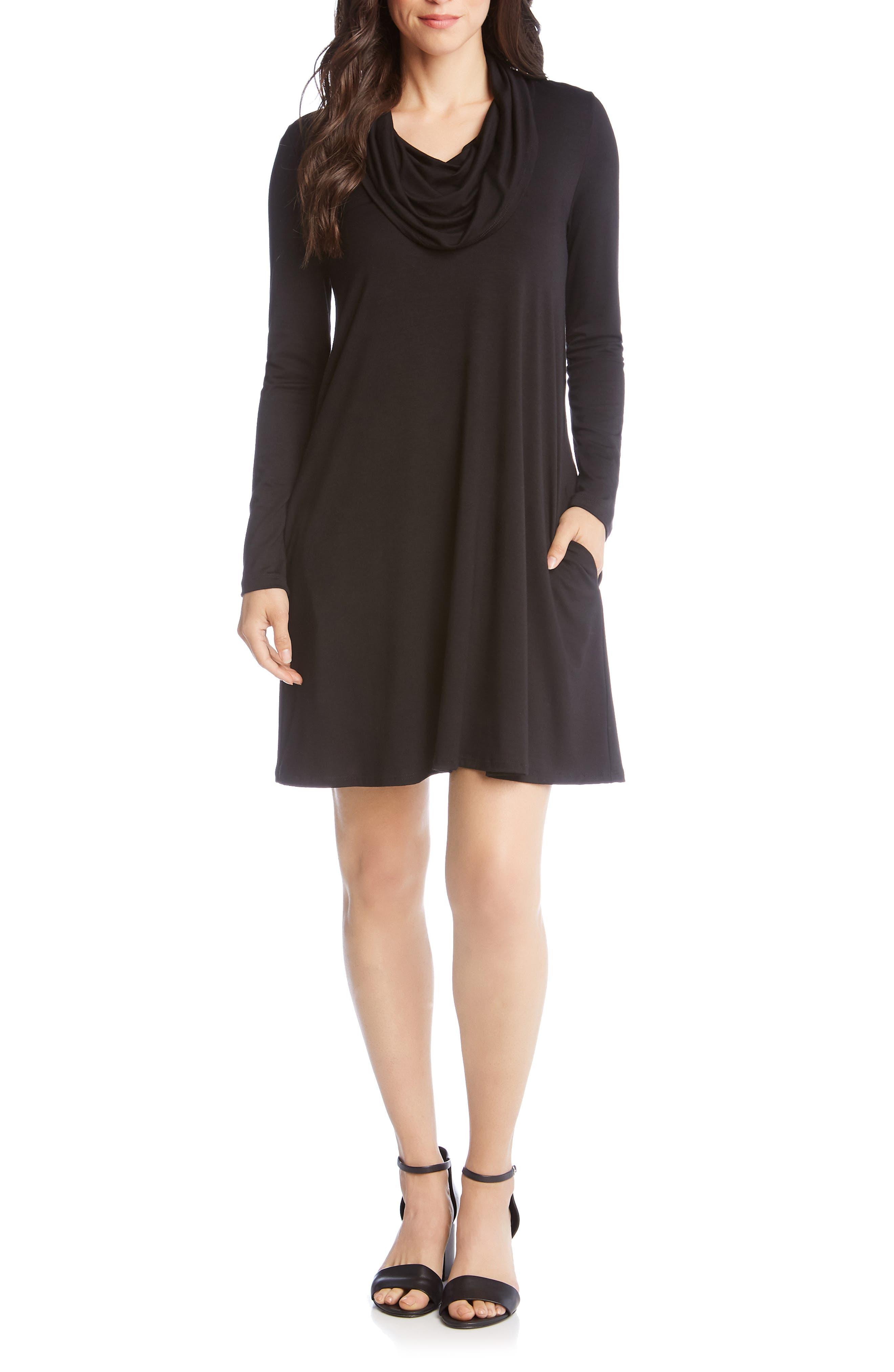 Karen Kane Chloe Cowl Neck Swing Dress, Black