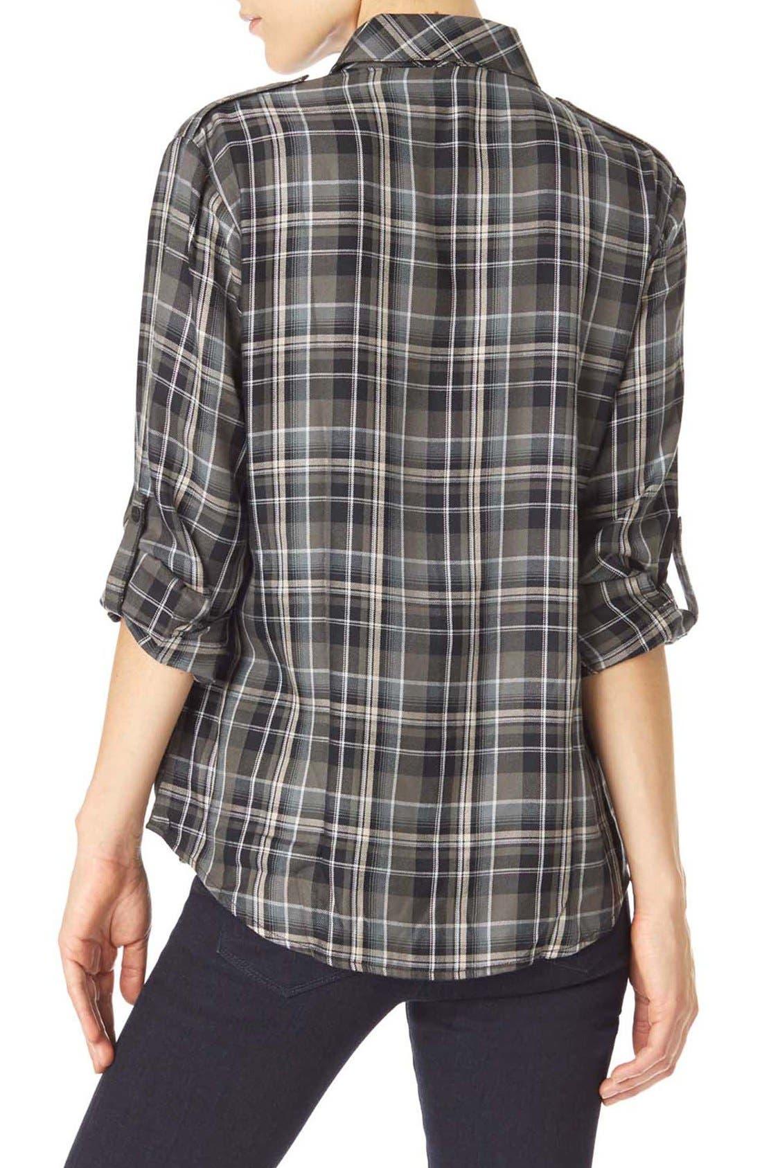 Plaid Flannel Boyfriend Shirt,                             Alternate thumbnail 2, color,                             093
