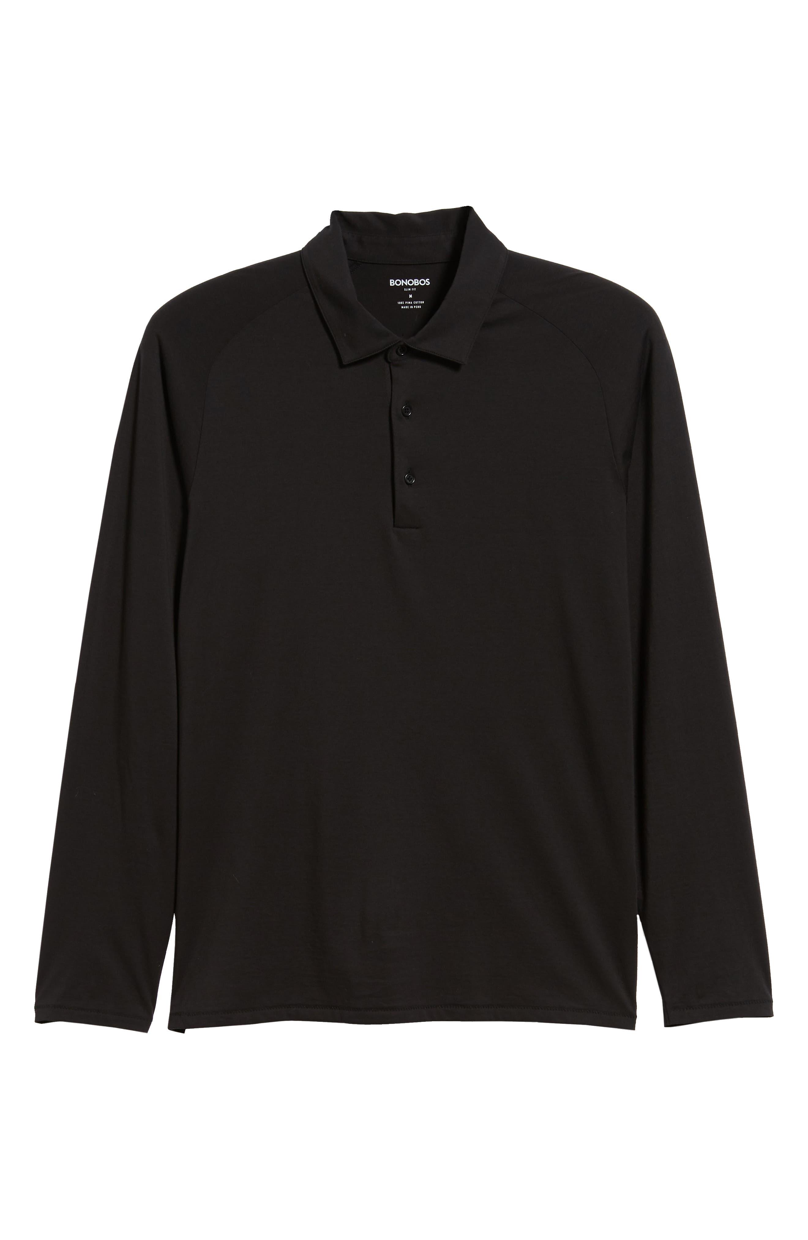 Superfine Slim Fit Long Sleeve Polo,                             Alternate thumbnail 6, color,                             CAVIAR BLACK