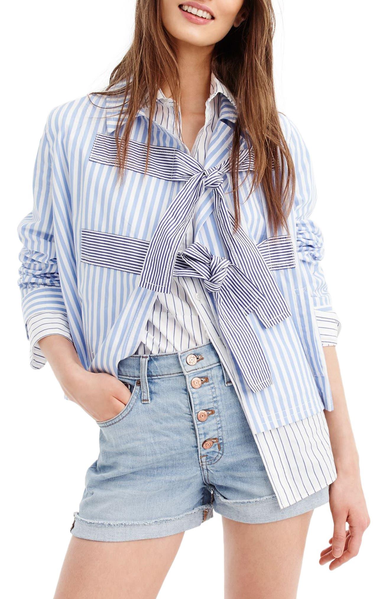 Rhonda Mixed Stripe Bow Jacket,                             Main thumbnail 1, color,