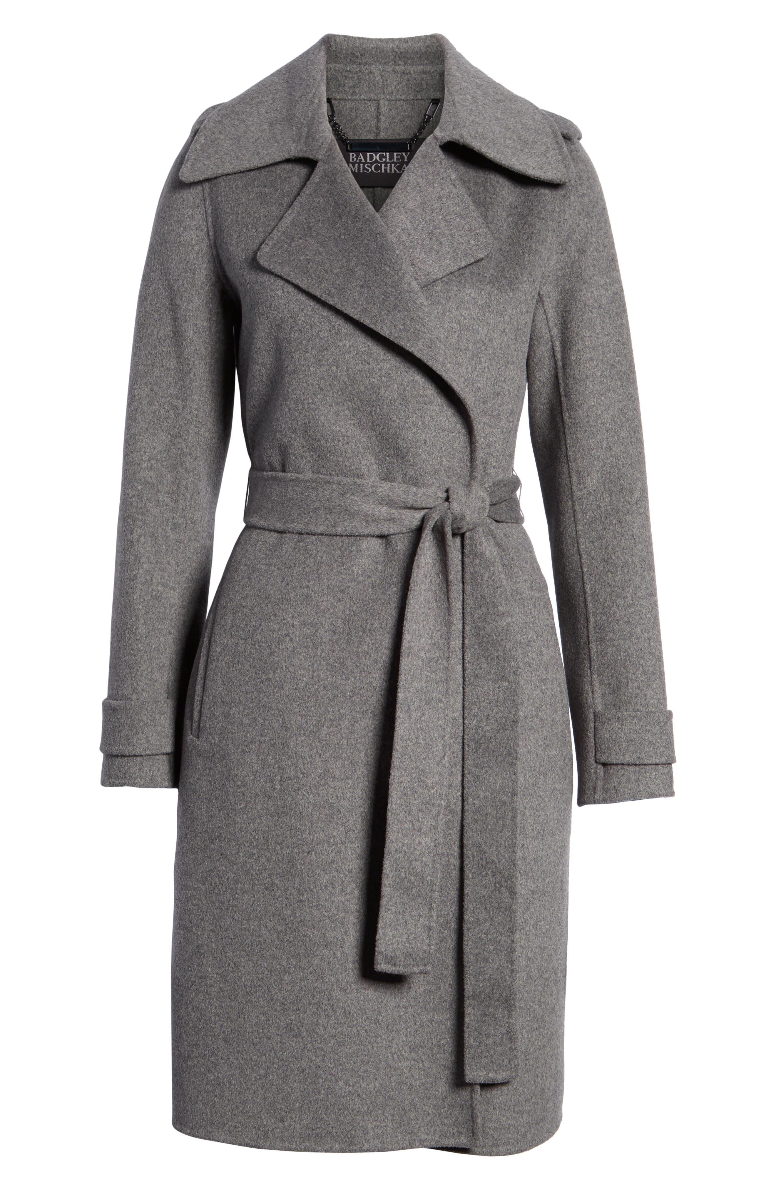 Double Face Wool Blend Wrap Front Coat, Alternate, color, GREY