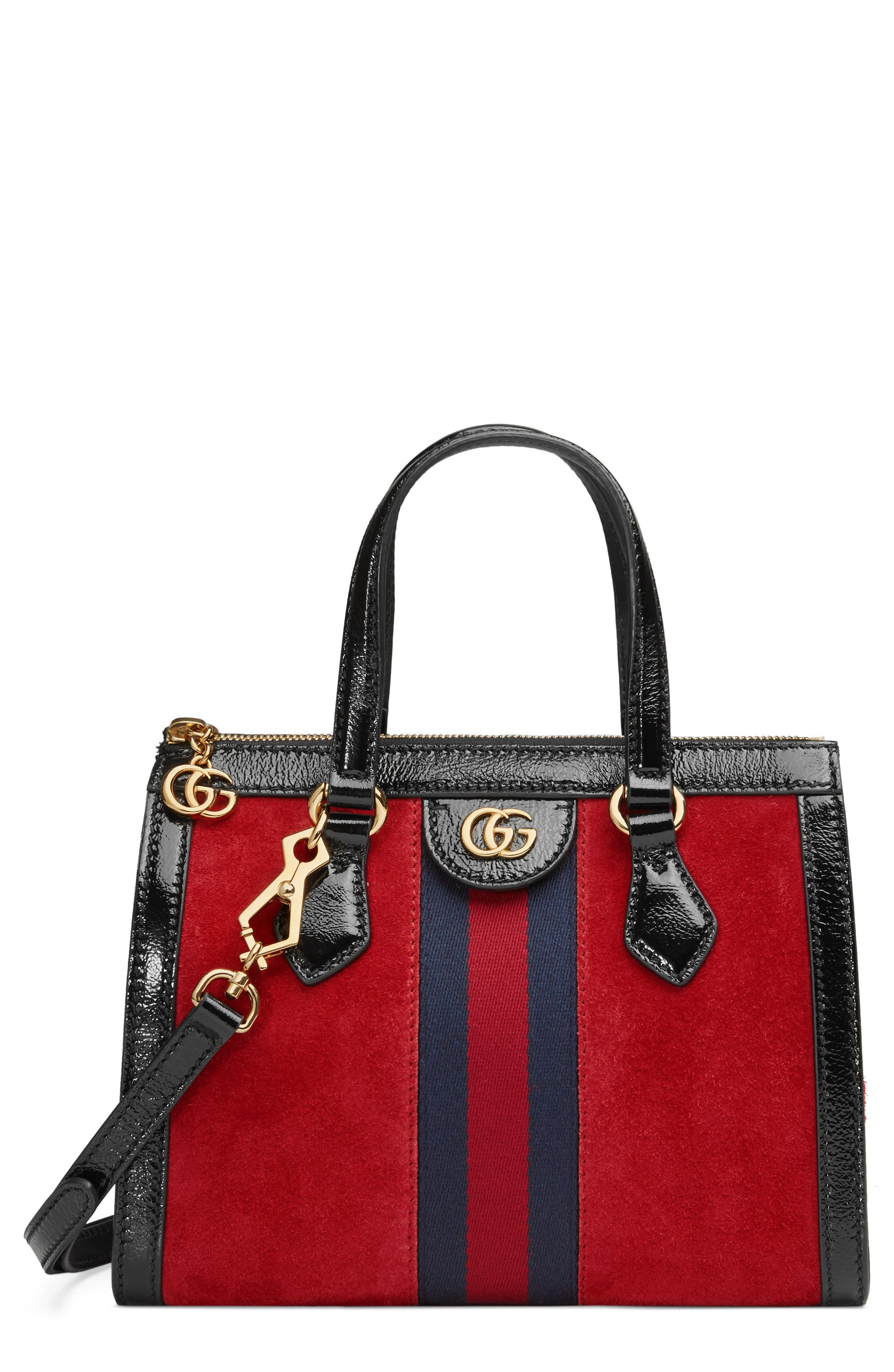 Small Ophidia House Web Suede Satchel,                         Main,                         color, HIBISCUS RED/ NERO/ BLUE
