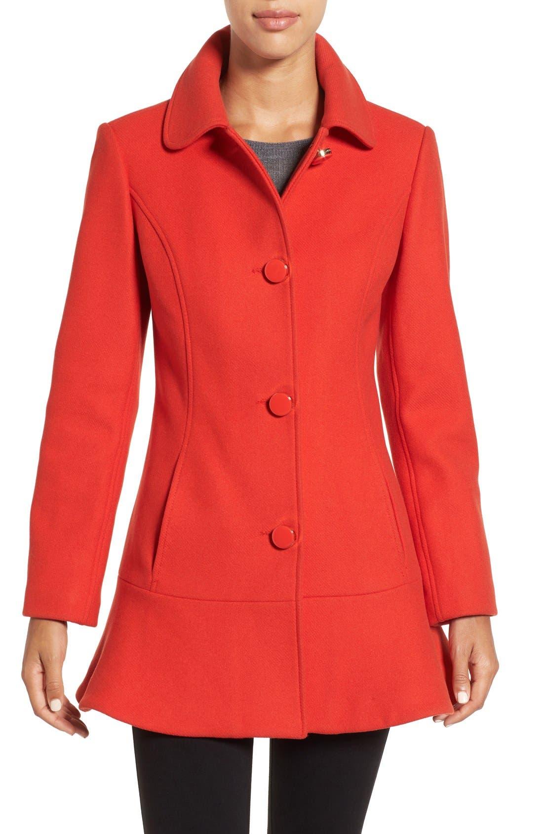 KATE SPADE NEW YORK twill ruffle hem coat, Main, color, 600