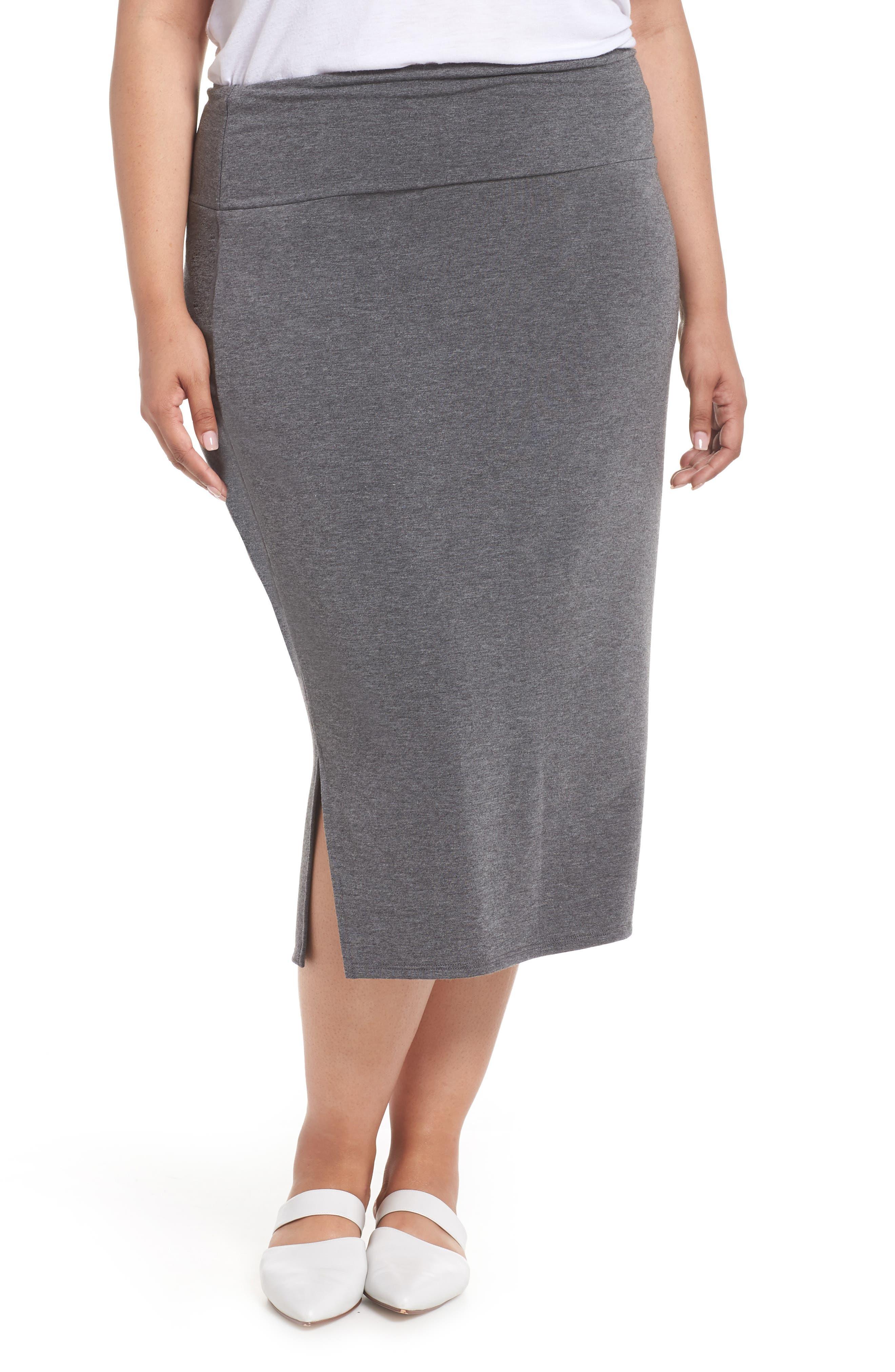 Off Duty Knit Skirt,                             Main thumbnail 1, color,                             GREY DARK CHARCOAL HEATHER